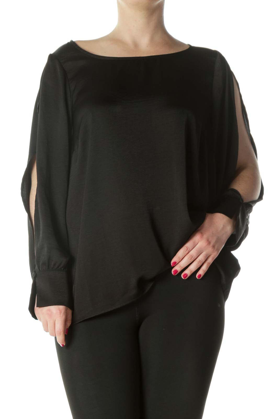 Black Silky Open Sleeves Blouse Front