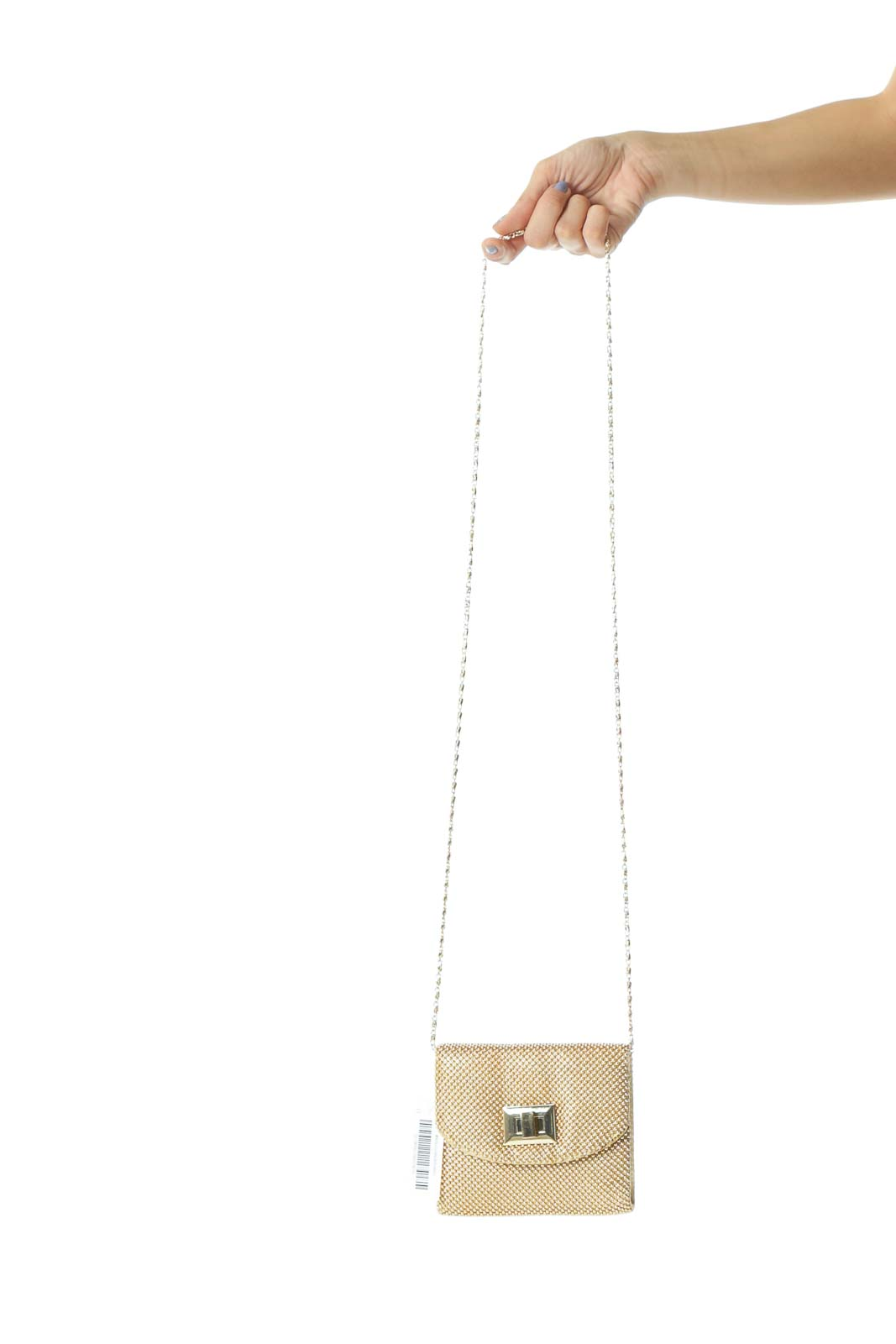 Gold Metallic Beads Chain Metallic-Closure Bag Front