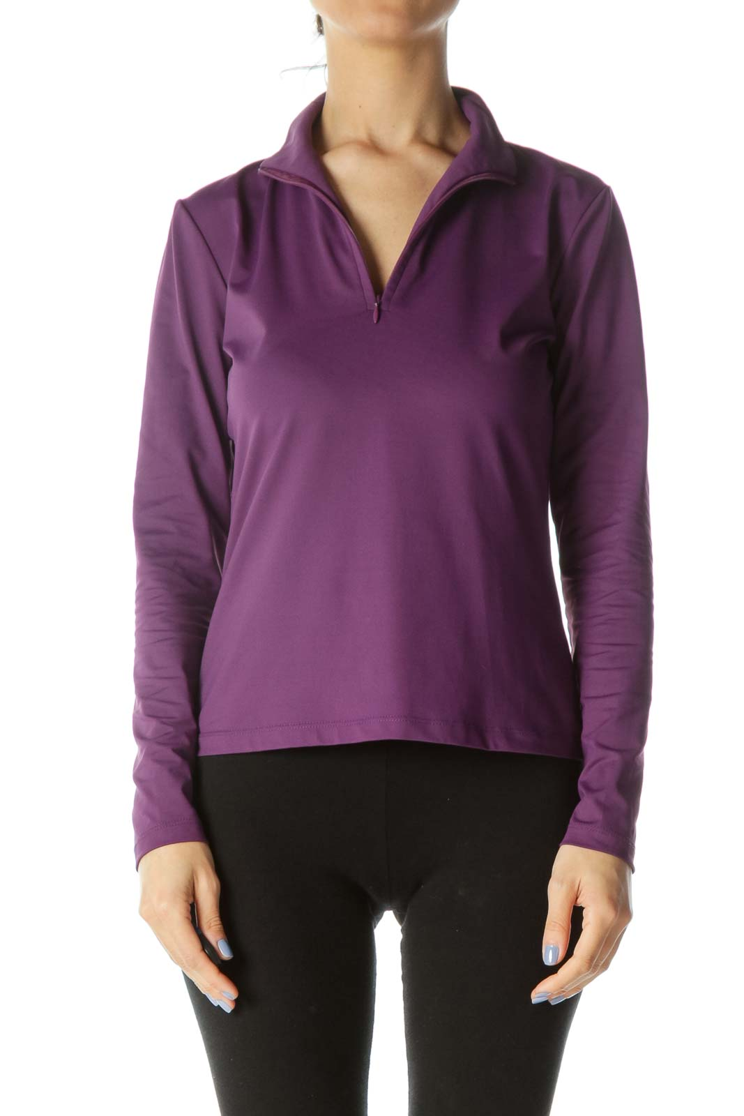 Purple Zipper Long-Sleeve Stretch Activewear Jacket Front