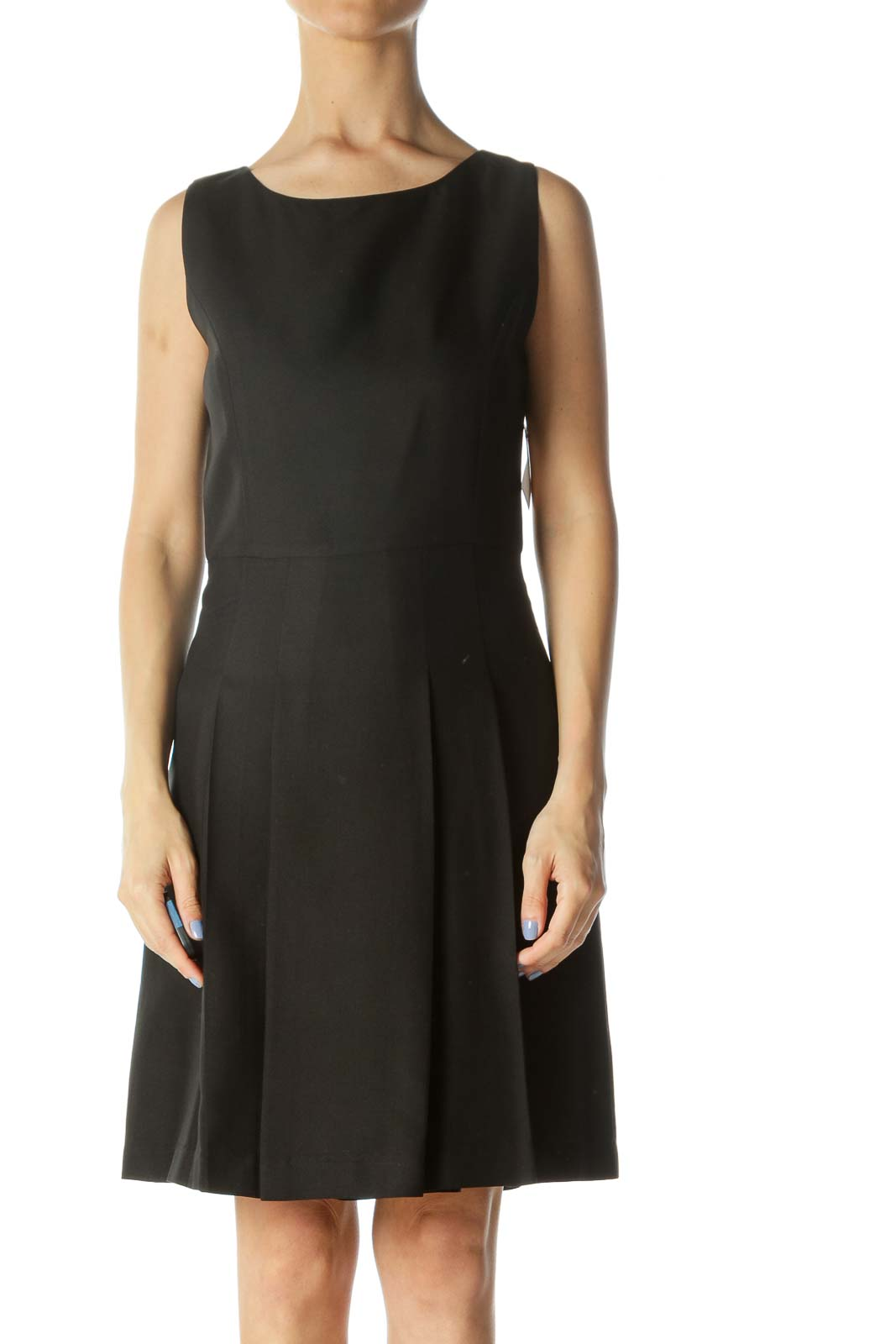 Black Round-Neck Pleated-Skirt A-Line Dress Front