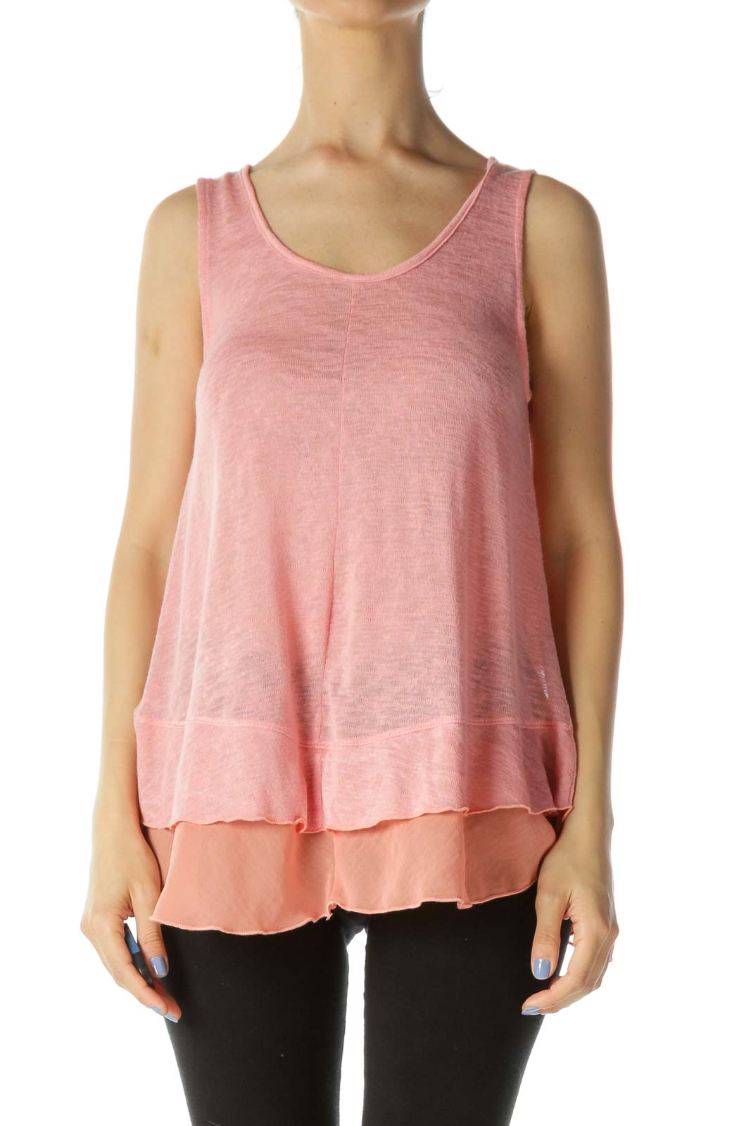 Pink Layered Tank Top Front