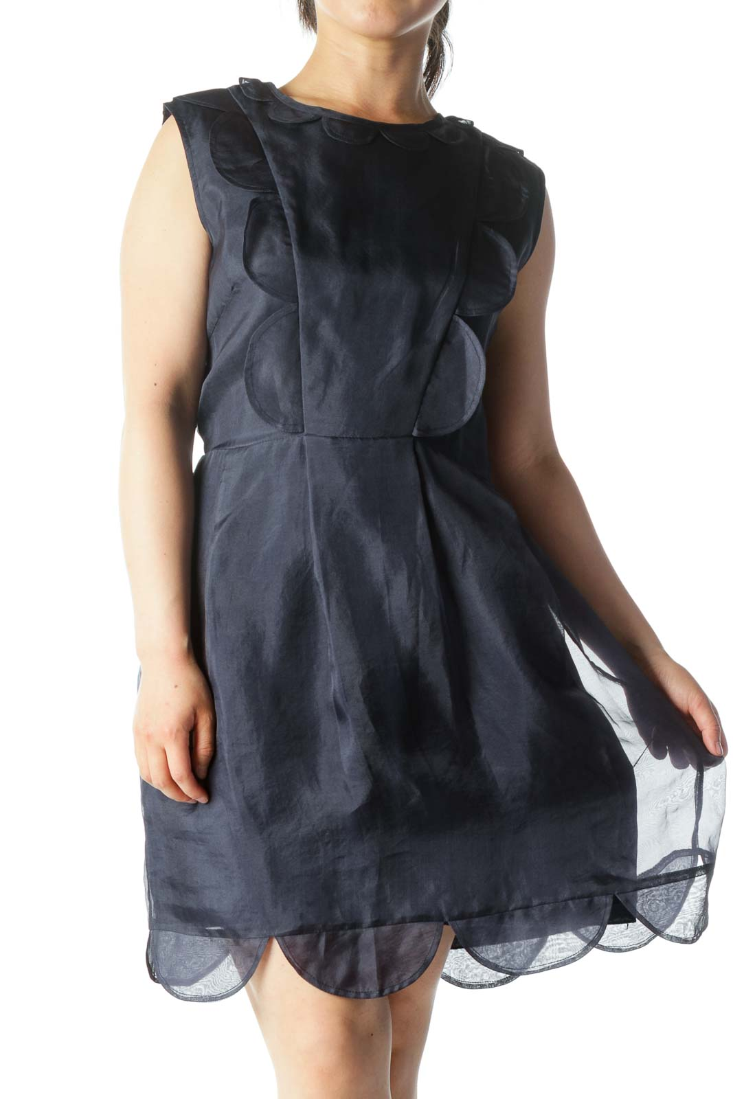 Navy 100% Silk Lettuce-Hem Ruffled Sleeveless Day-Dress Front