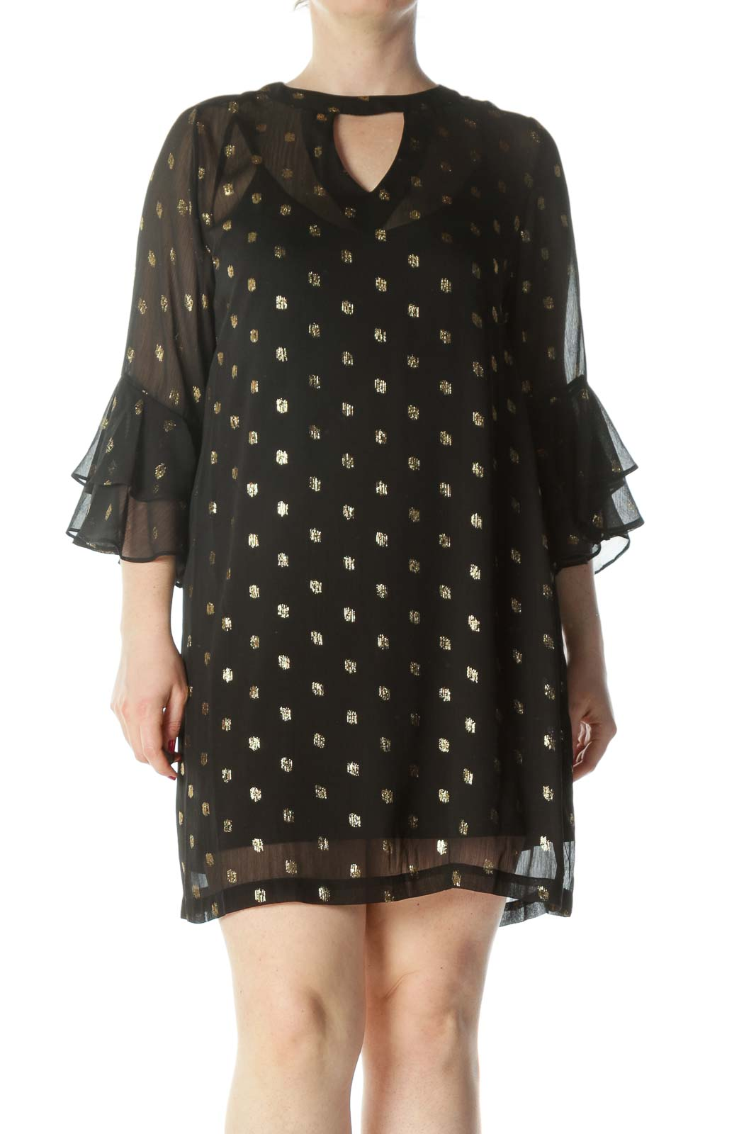 Black/Gold Metallic-Thread-Spots Keyhole See-Through Cocktail Dress Front
