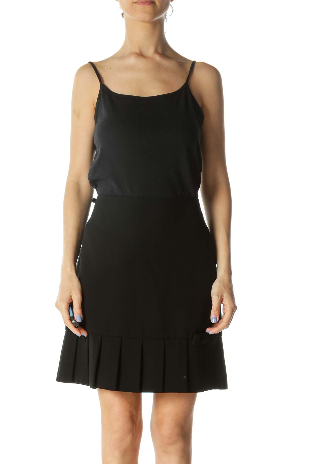 Black Pleated Bow Detail Skirt Front