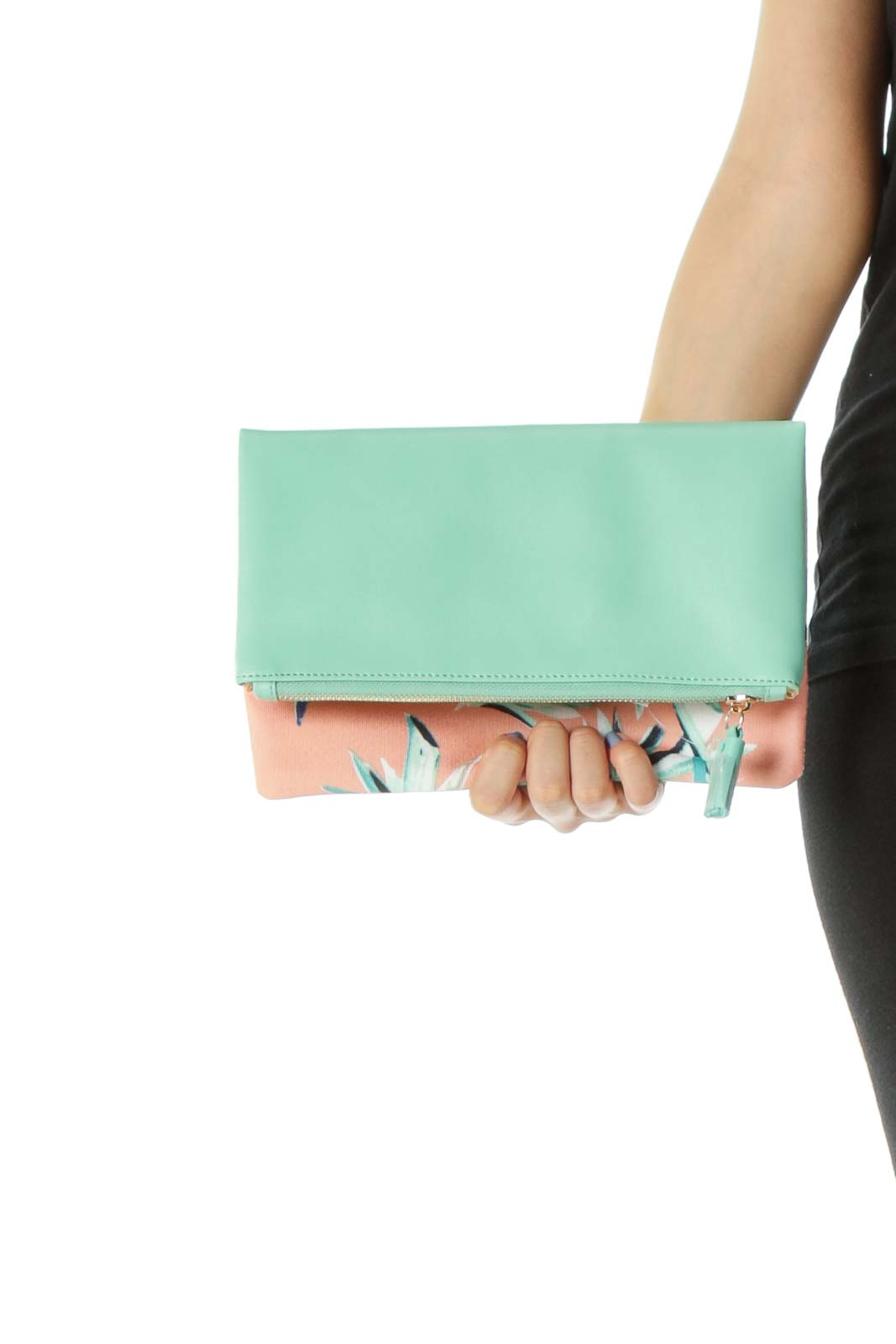 Mint-Green/Orange Plant-Print Zippered Clutch Front