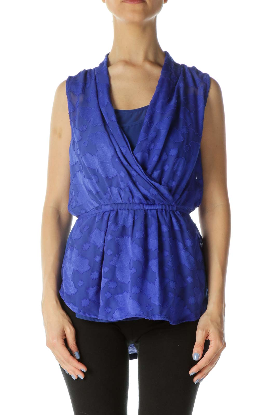 Royal-Blue Textured-Leaves Mixed-Media Sleeveless Top Front