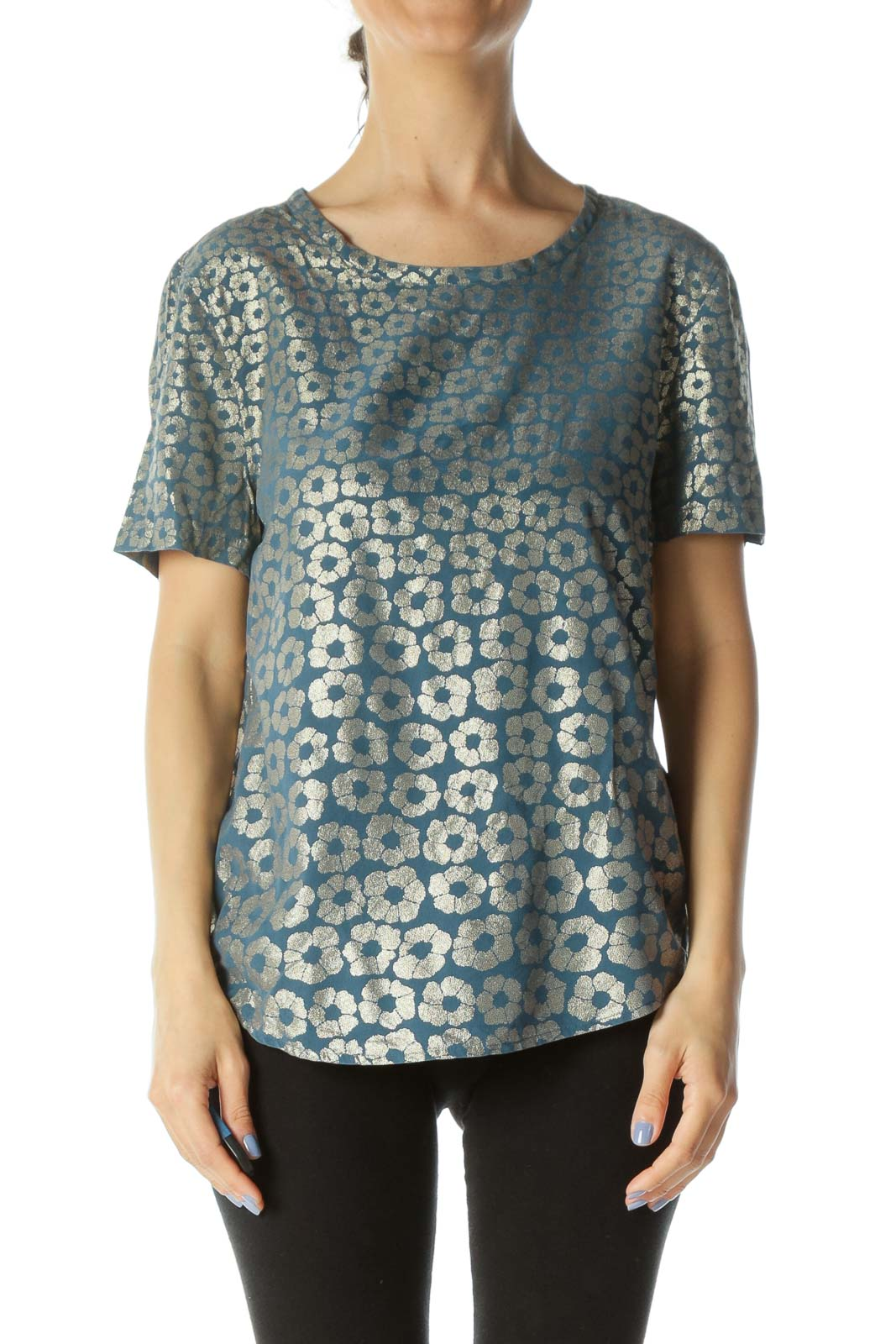 Teal-Blue/Gold Short-Sleeve Round-Neck Floral-Print Top Front