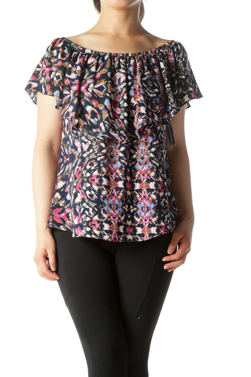 Navy Pink Print Ruffled Off-Shoulder Top Front