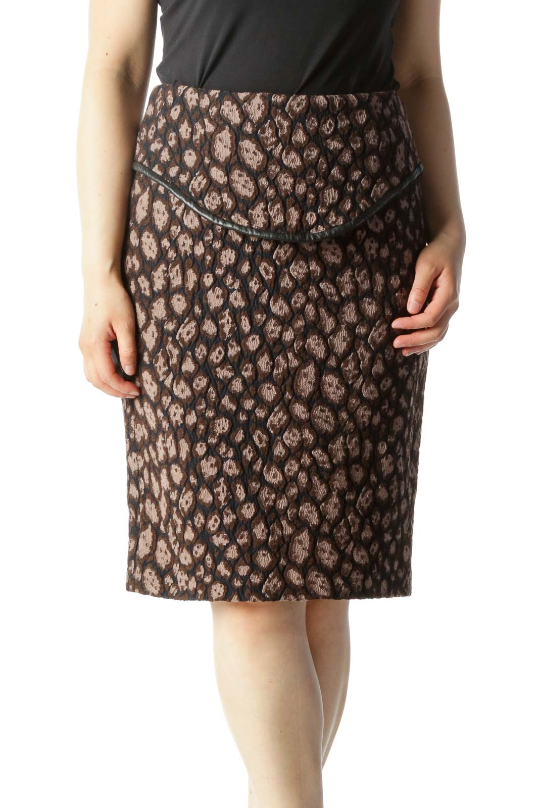 Brown Black & Beige Brocade Printed Pencil Skirt With Leather Combo Front