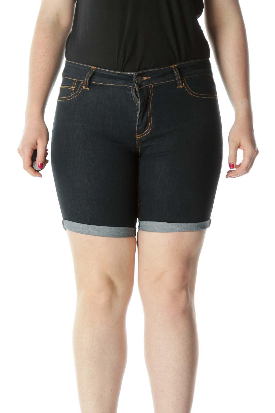 Blue Mid-Rise Cuffed Denim Shorts Front