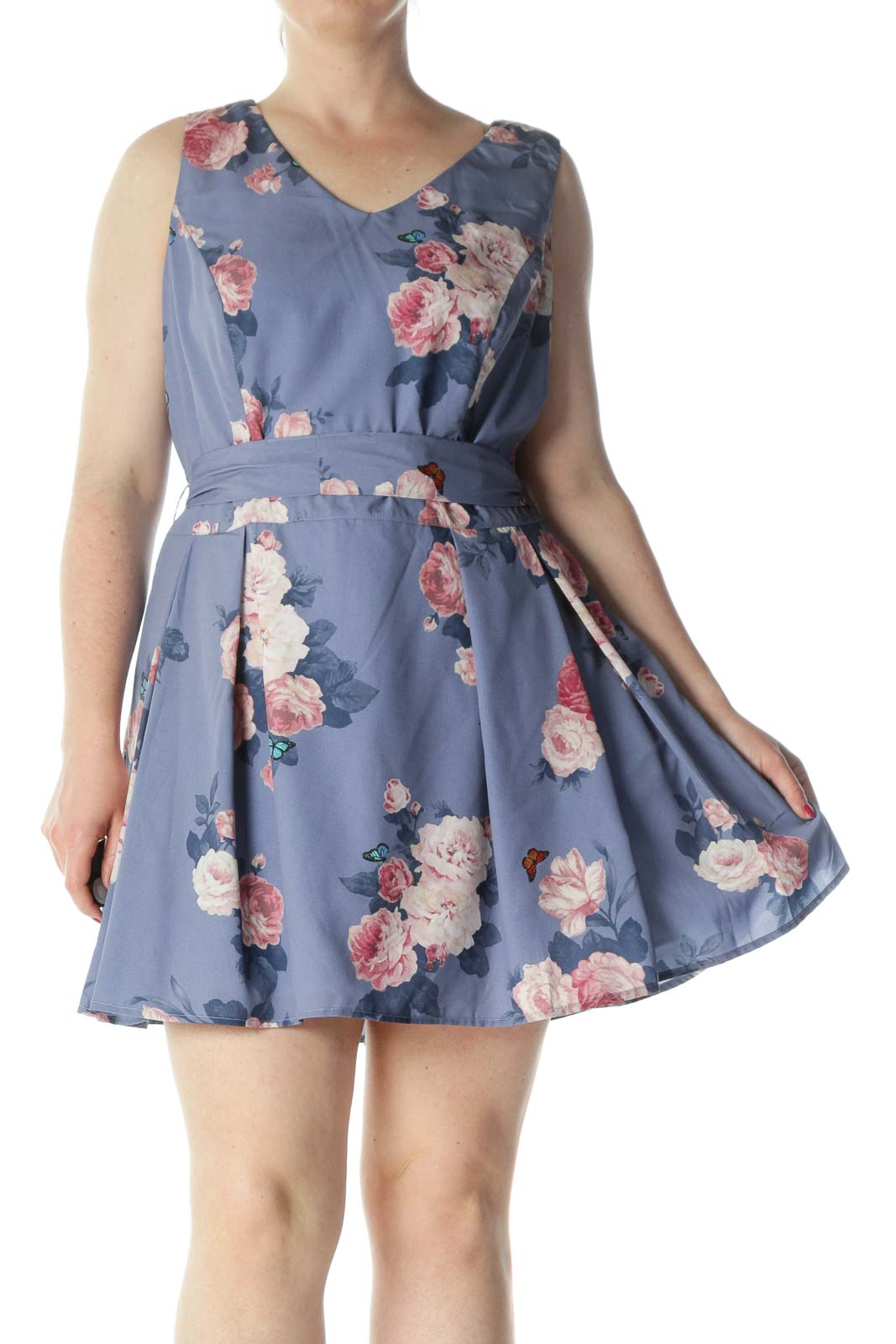 Purple & Pink Floral Sleeveless V-Neck Flared Day-Dress Front