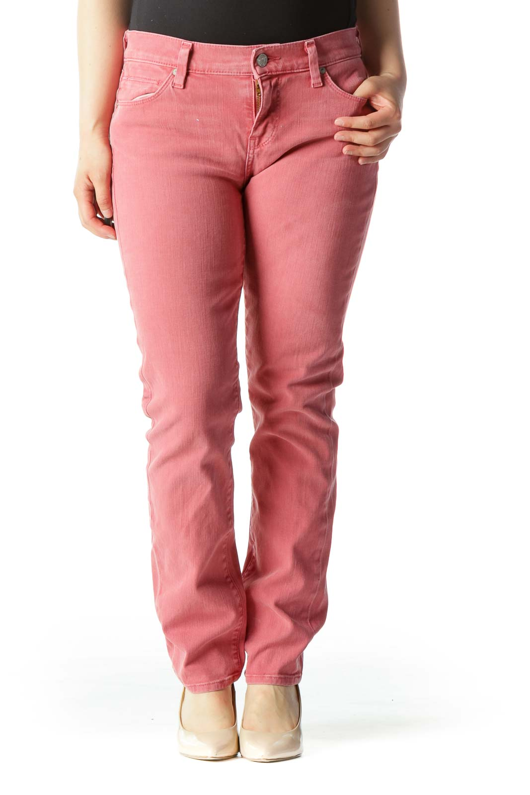 Pink Mid-Rise Slim-Straight Jeans Front