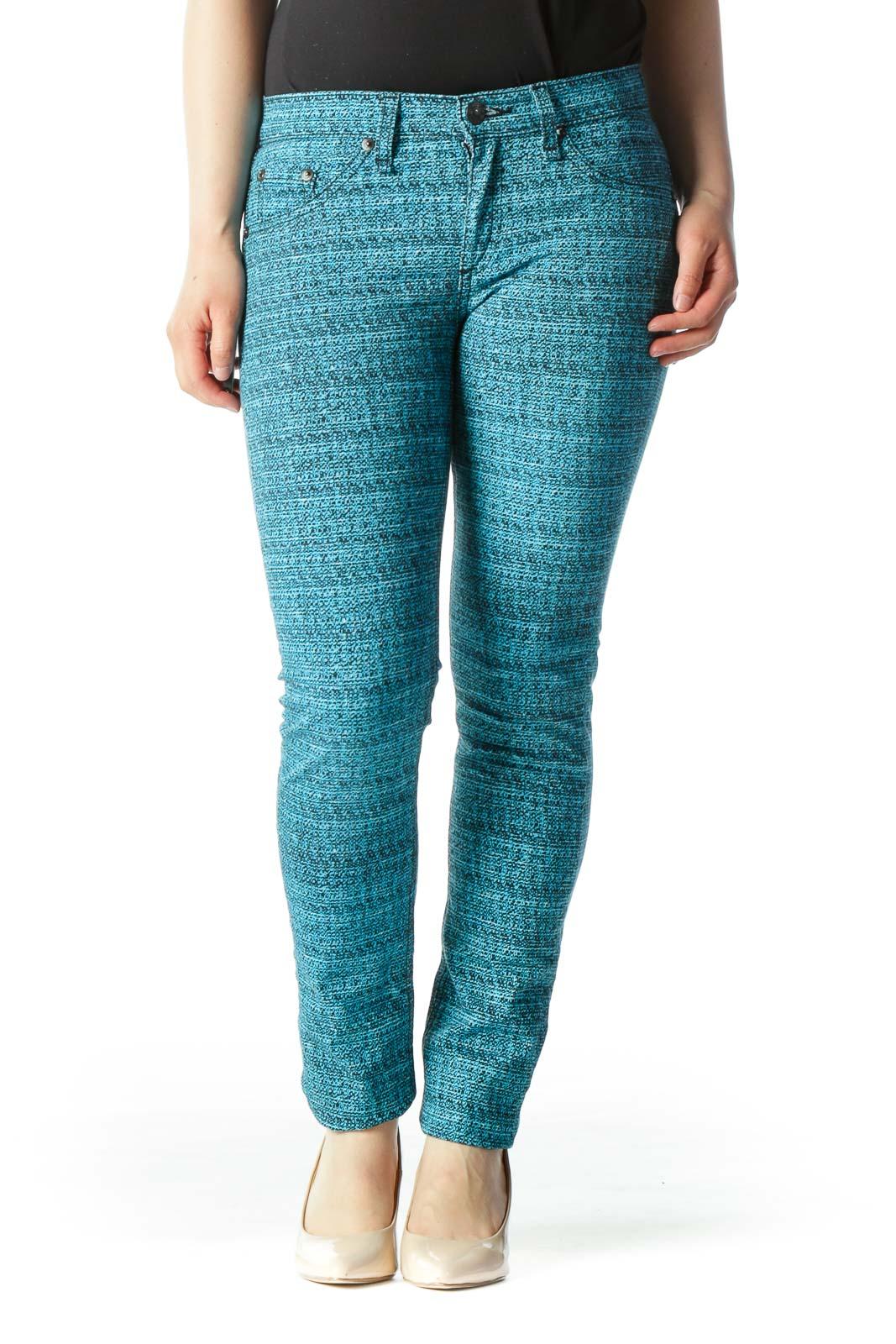 Teal Printed Skinny Pant Front