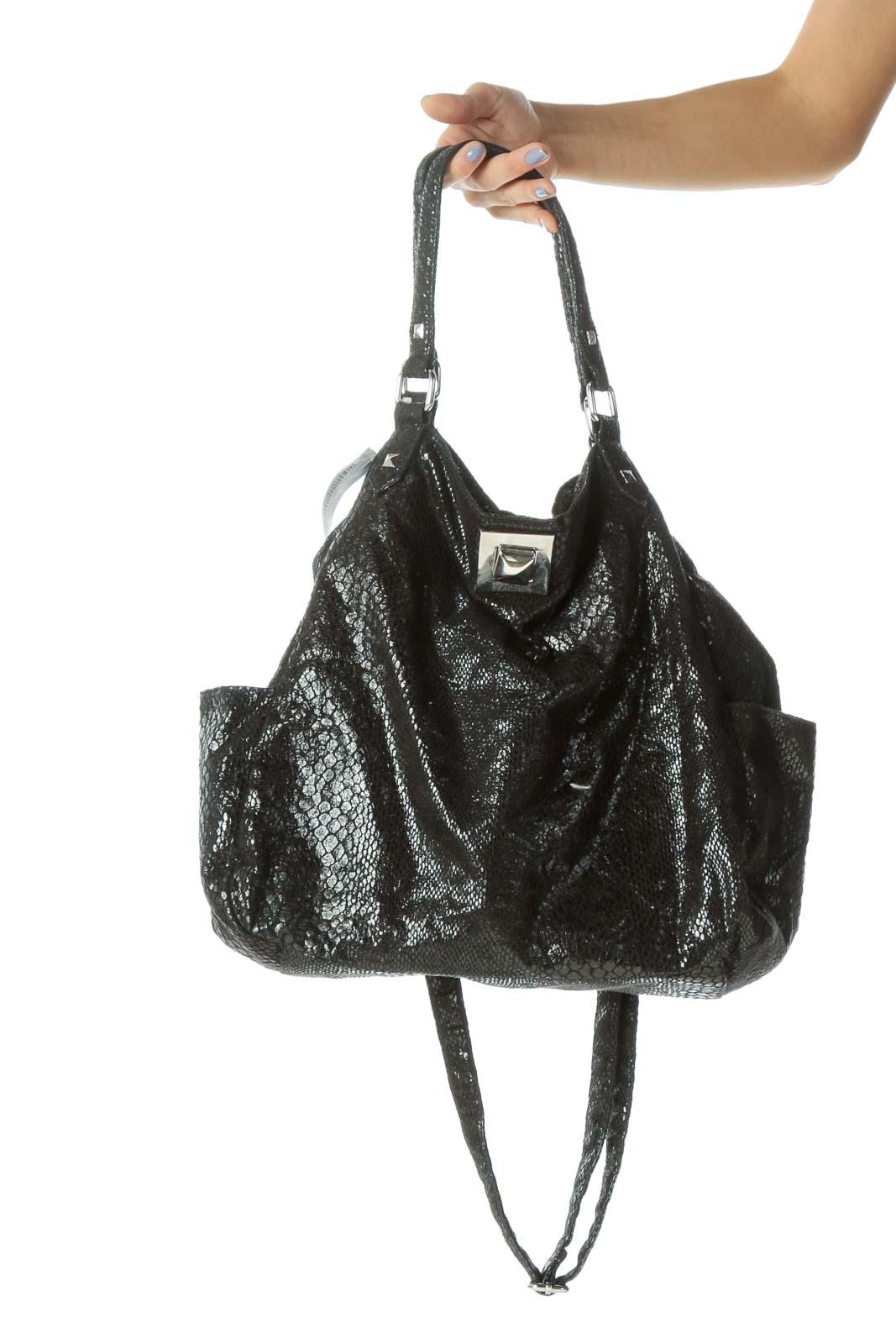 Black Shiny Snake Print Textured Shoulder Bag Front