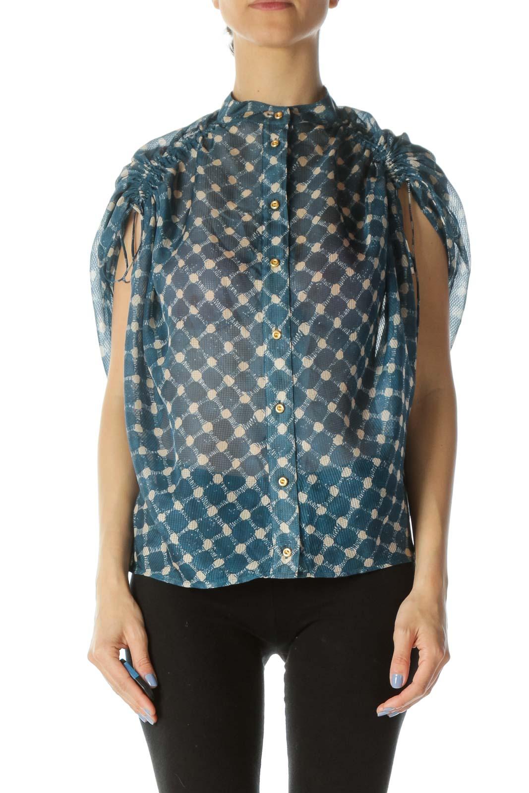 Blue & Beige Printed Designer Over-Sized Translucent 100% Silk Blouse Front