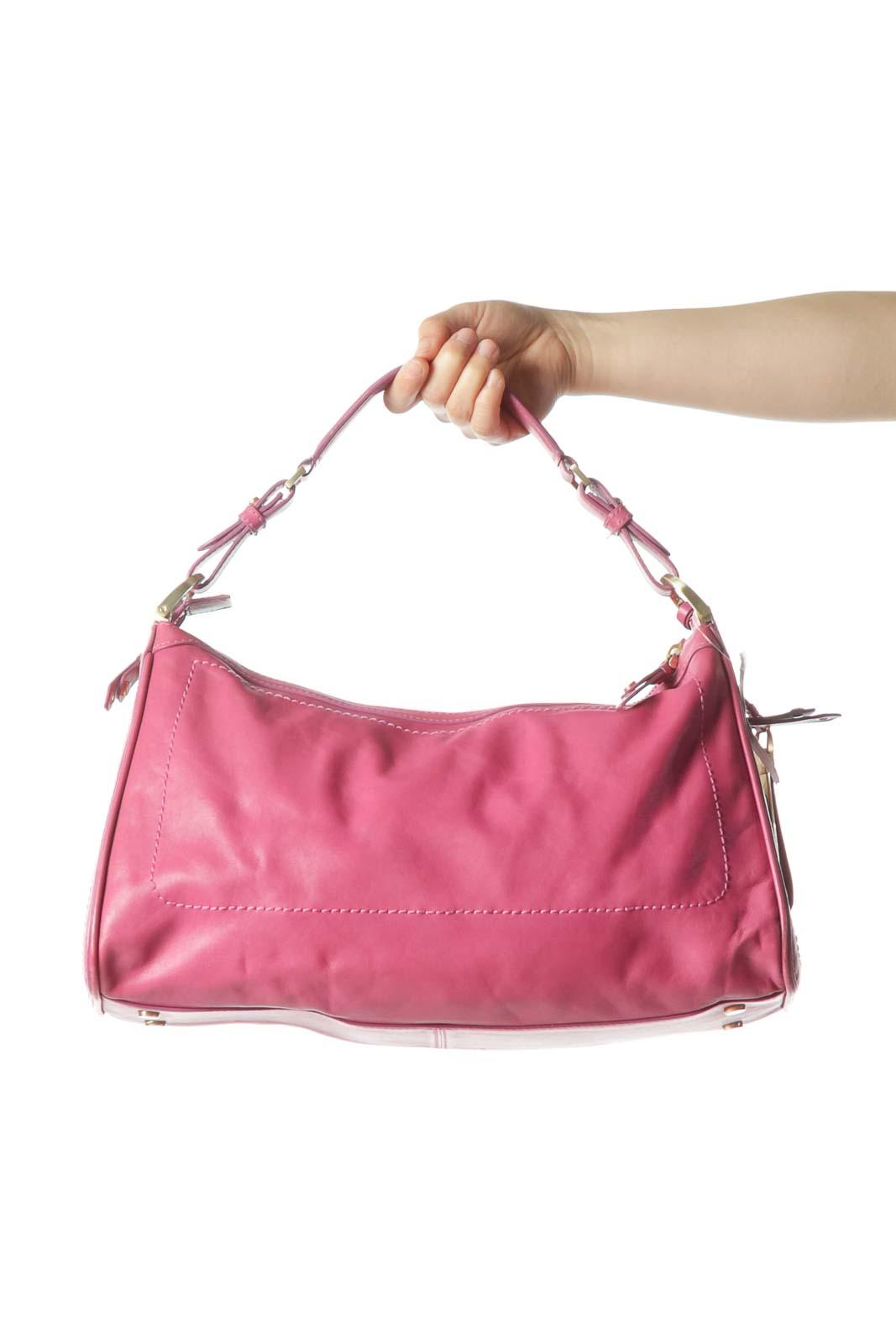 PinkZippered Shoulder Bag with Side Pockets Front