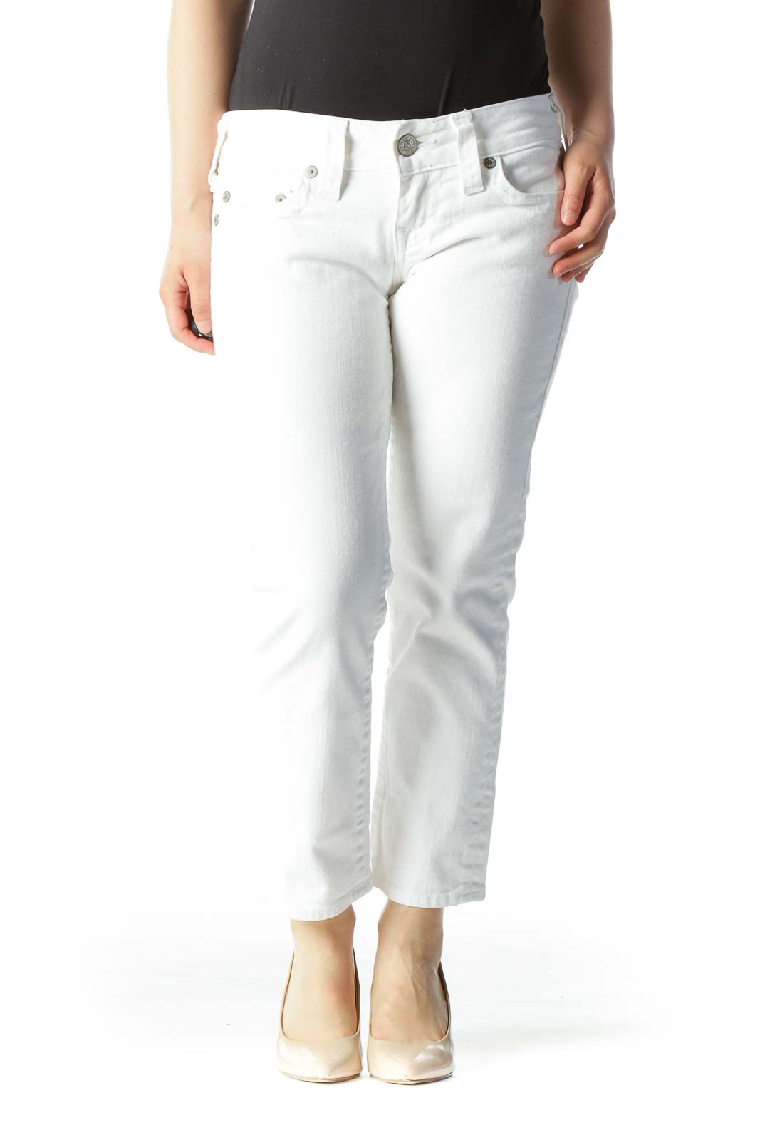 White Cropped Mid-Rise Skinny Jeans Front
