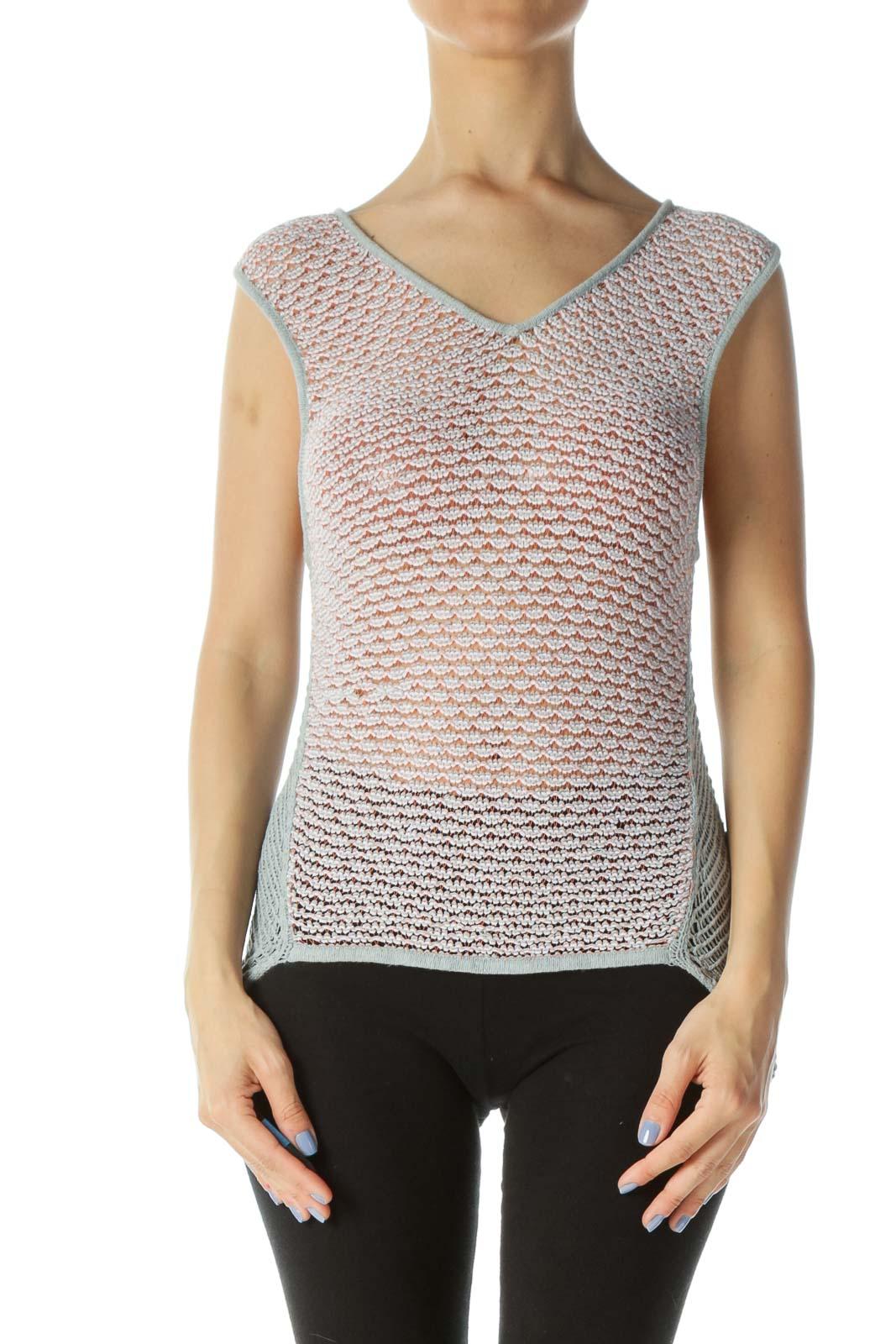 Orange Teal & Cream Patterned Designer Crocheted Sleeveless Knit Top Front