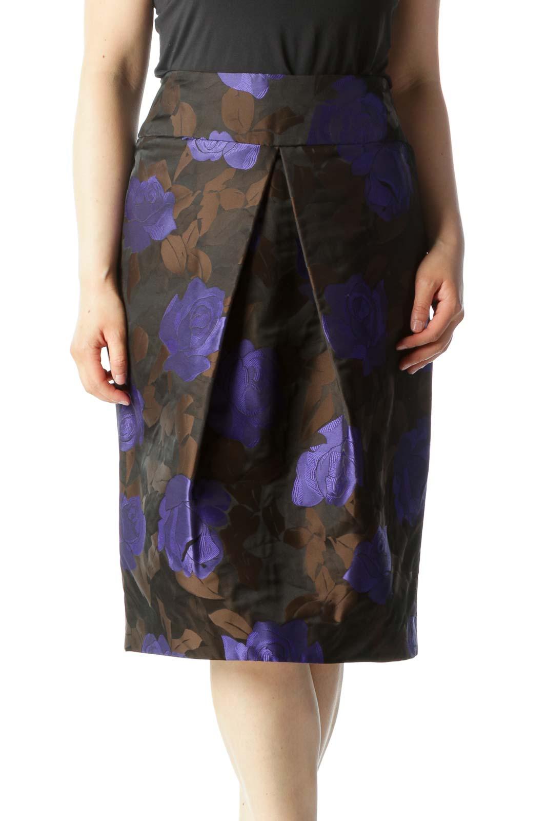 Purple & Brown Floral Print Designer Pleated Pencil Skirt Front