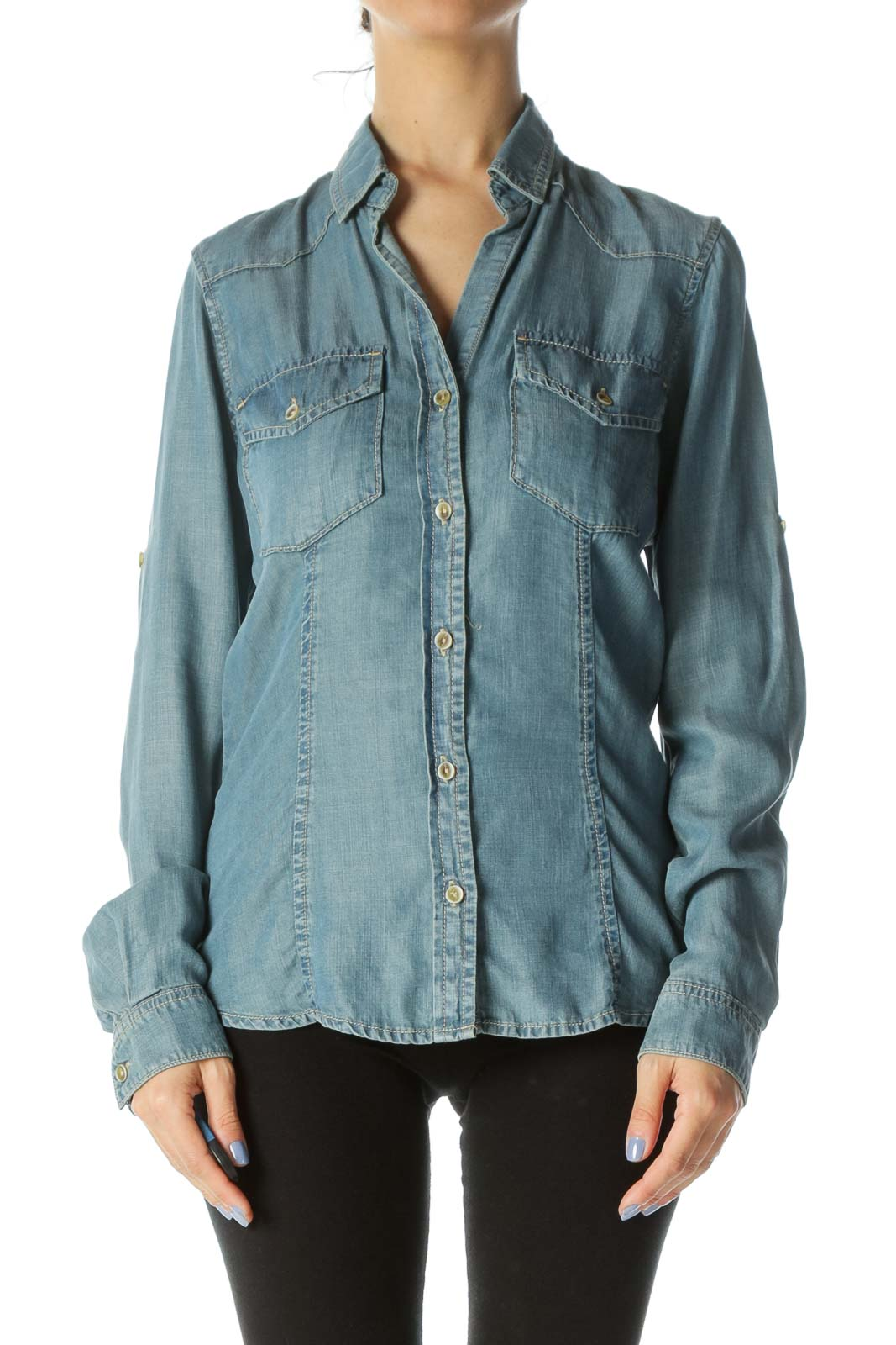 Blue Buttoned Pocketed Long Sleeve Denim Shirt Front