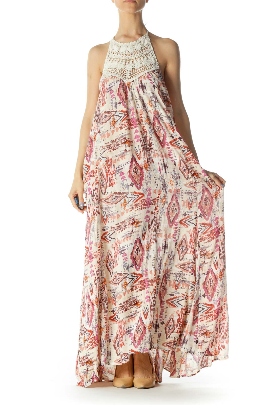 Cream/Red/Pink Printed Crocheted Halter-Neckline Day Dress Front