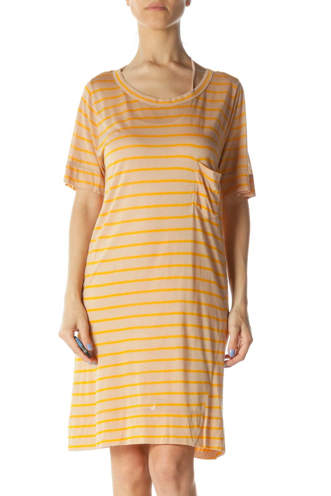Beige & Orange Striped Designer Knit Shirt Dress Front