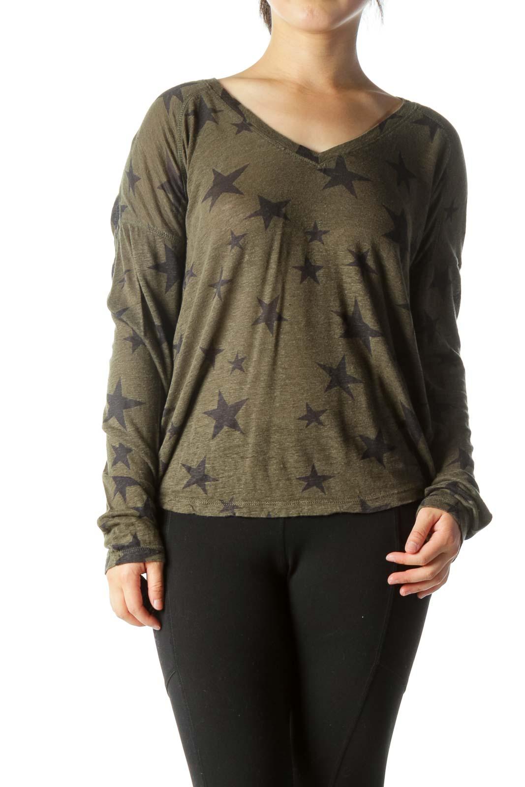 Olive Green Black V-Neck Star-Print Long Sleeve Top Front