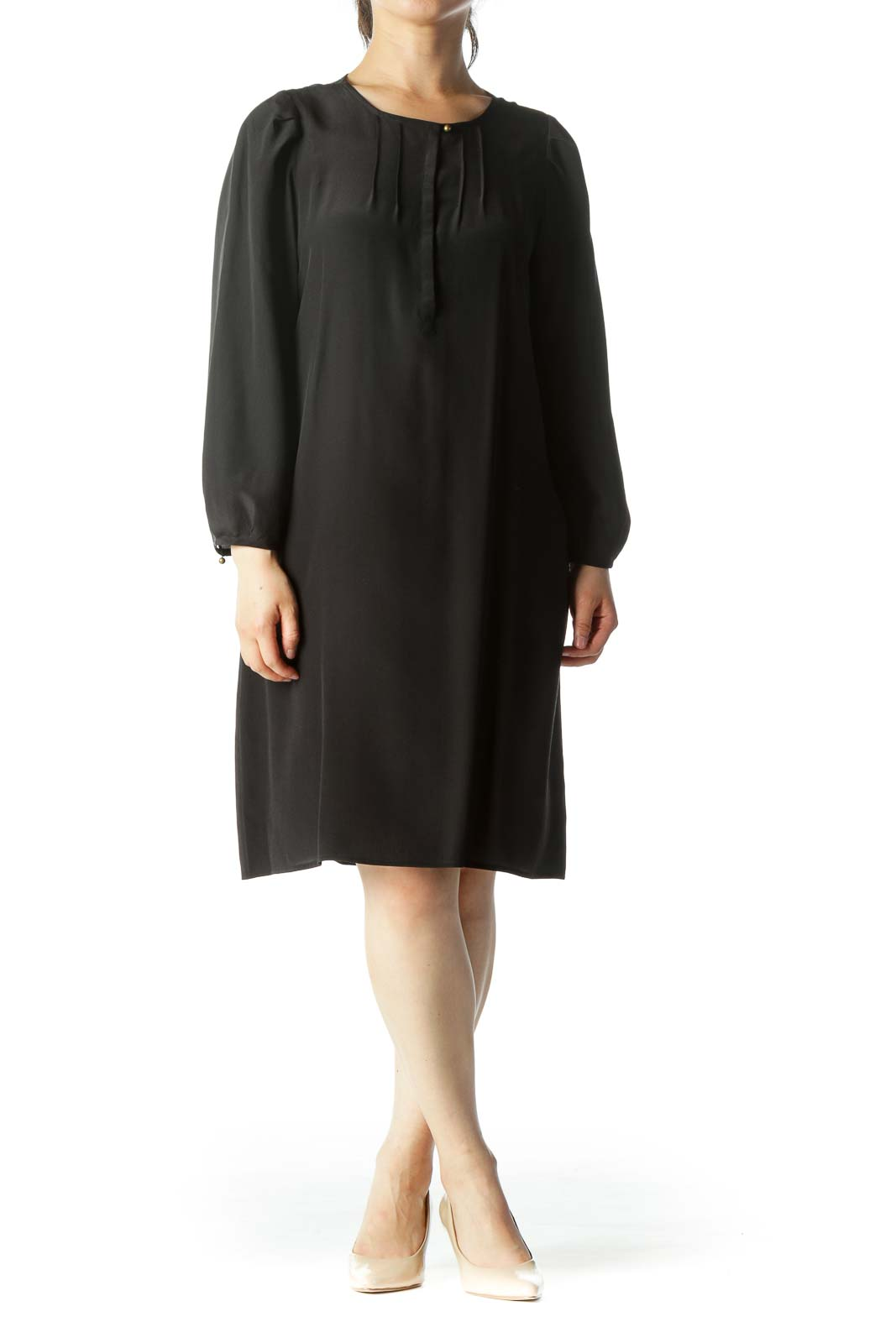 Black 100% Silk Chest-Pleated Buttoned 3/4 Sleeve Peasant Cocktail Dress Front