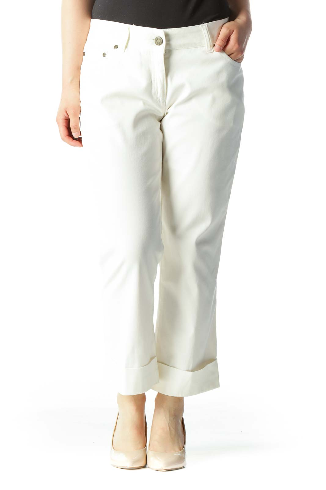 Cream Designer Cropped Cuffed Skinny Jeans Front