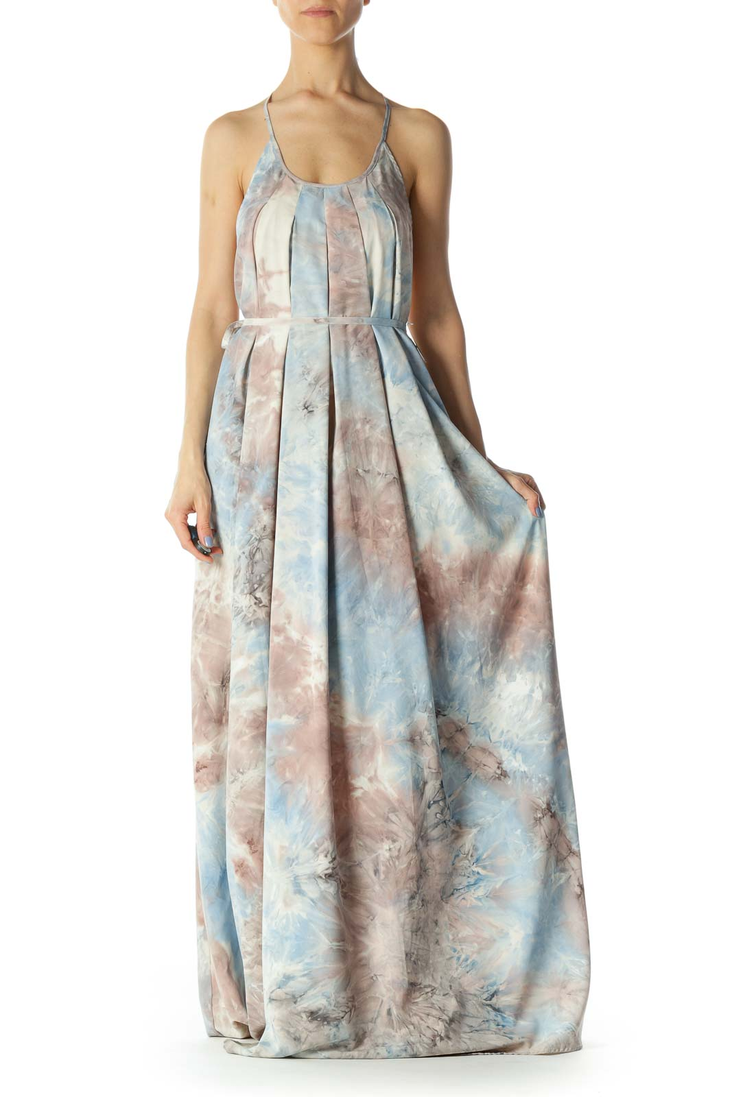 Light Blue/Pink/Gray Print Round-Neck Back Embroidered Strap Long Dress Front