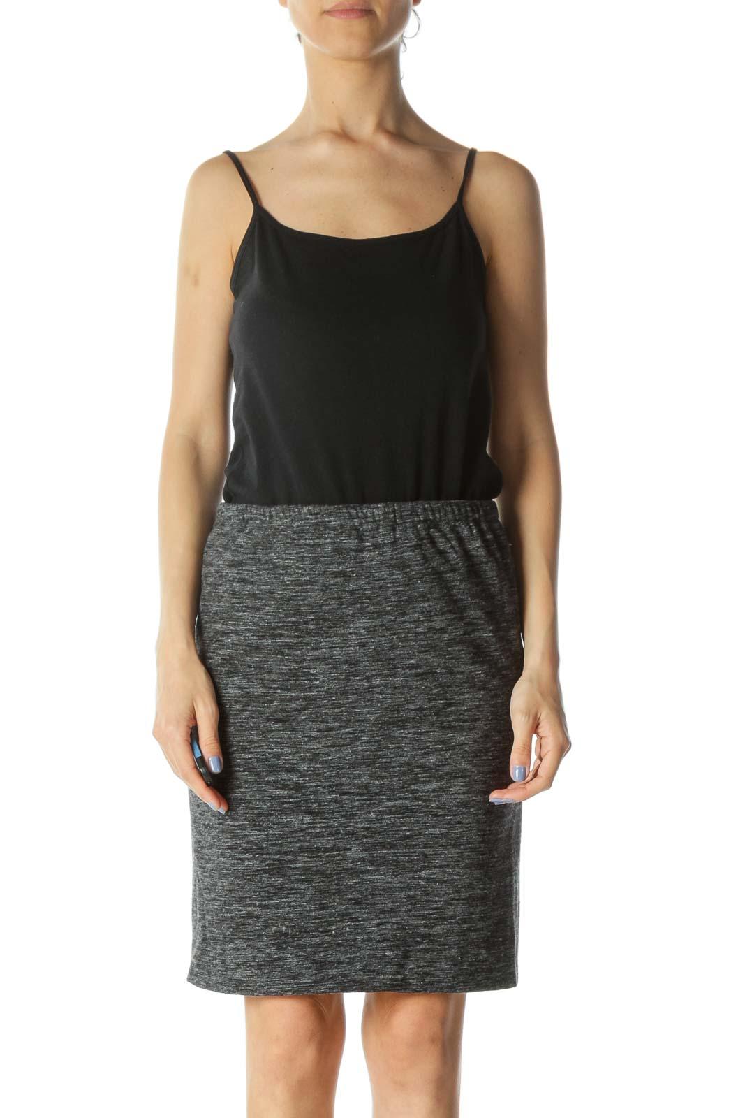 Heather Gray Designer Wool-Blend Knit Pencil Skirt Front