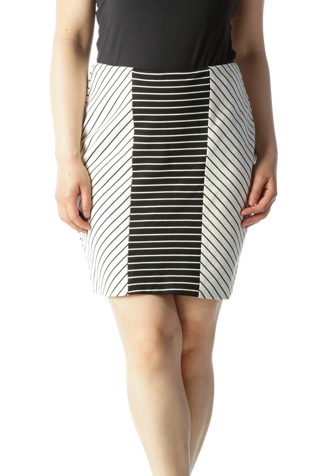 Black & White Striped Color-Blocked Knit Skirt Front