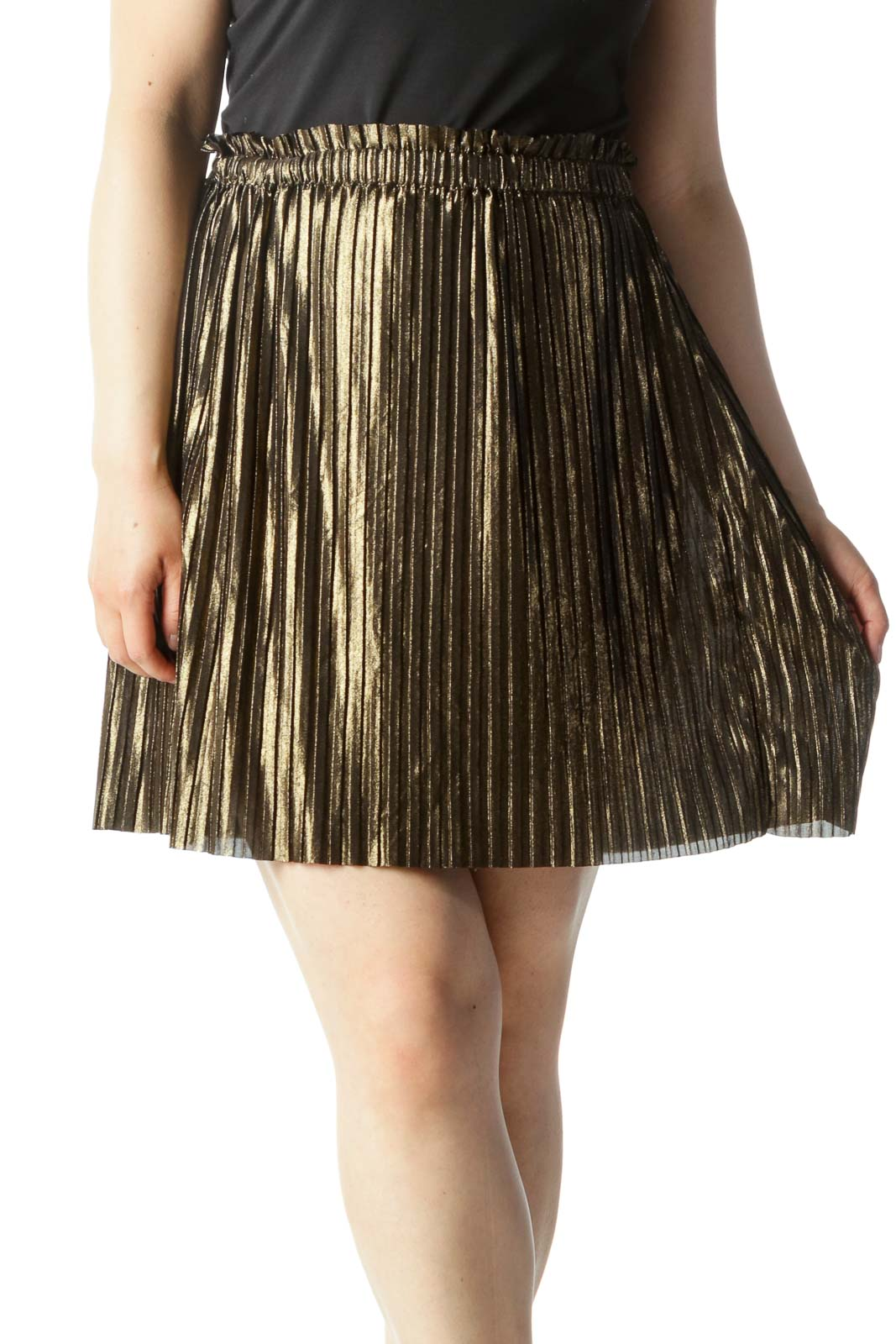 Gold Pleated Cinched-Waist A-Line Skirt Front