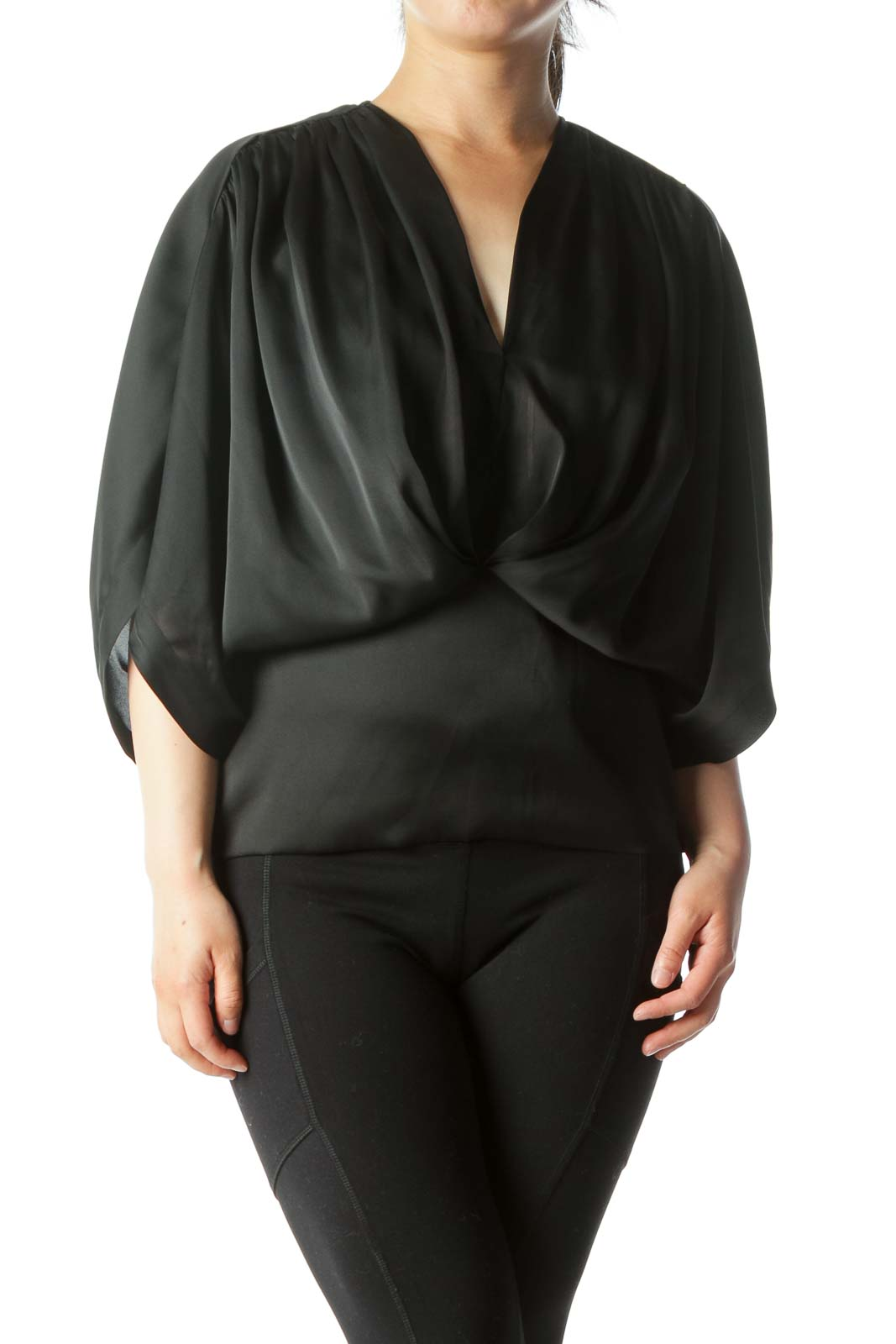 Black Bat-Sleeve Top Front