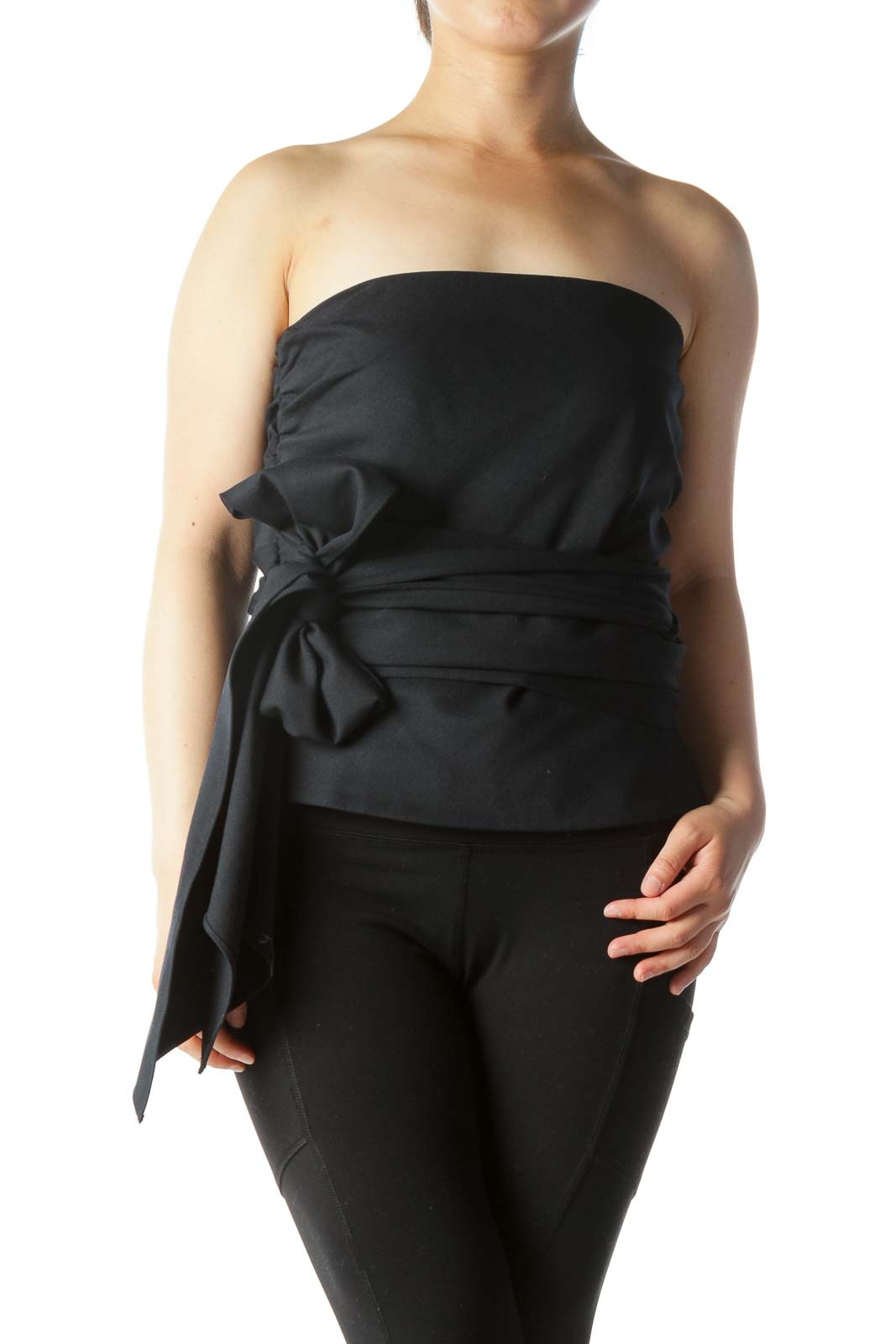 Navy Blue Strapless Belted Inside Structure Top Front