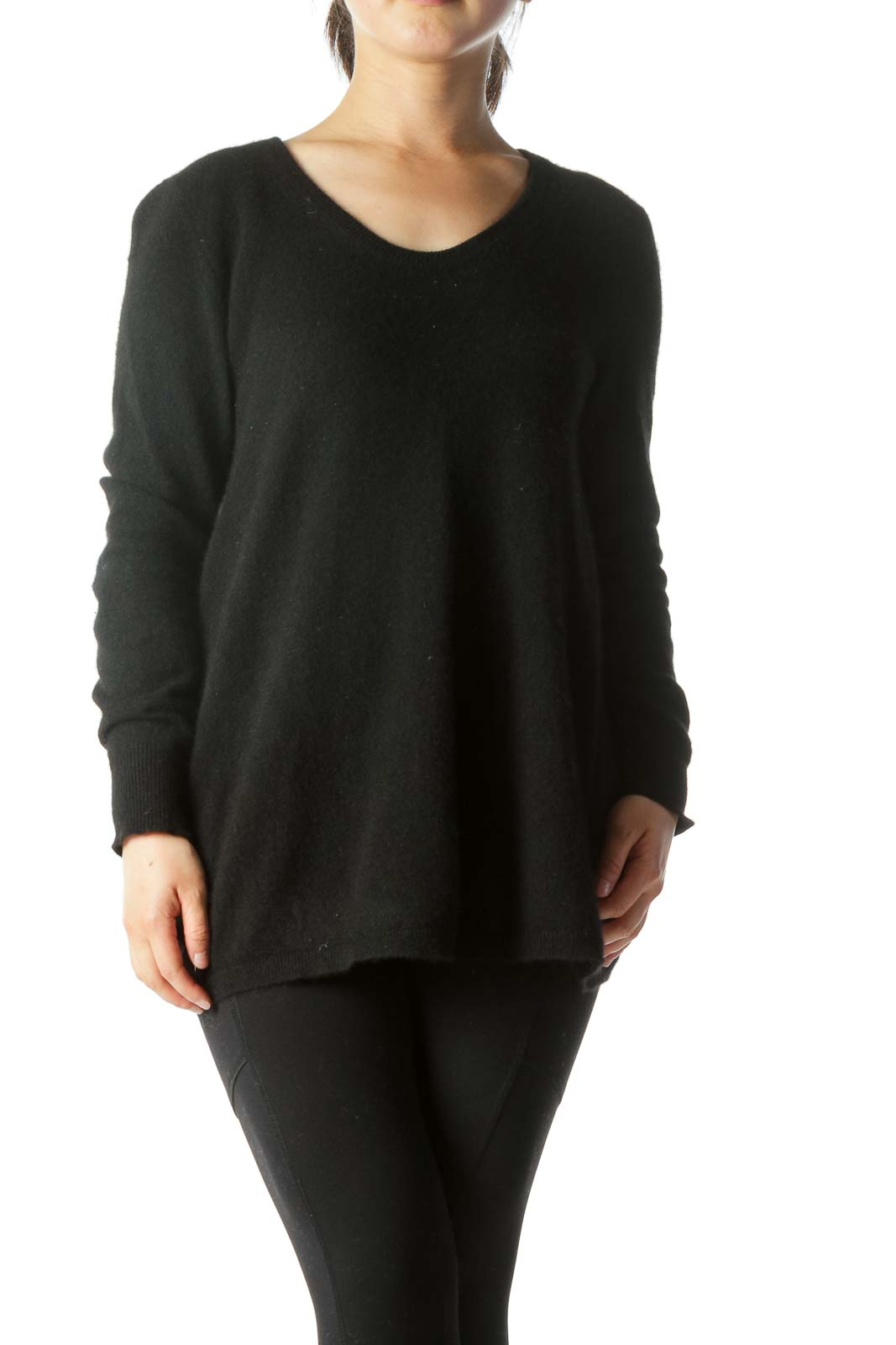 Black 100% Cashmere Round Neck Sweater Front