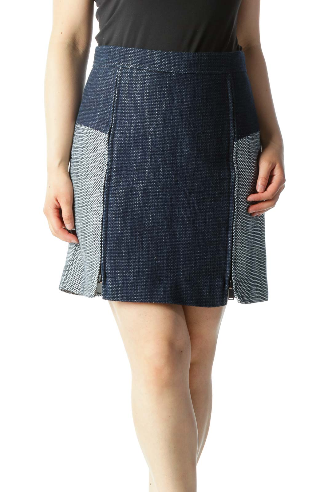 Navy & White Zipper-Opening Tweed Color-Blocked Pencil Skirt Front