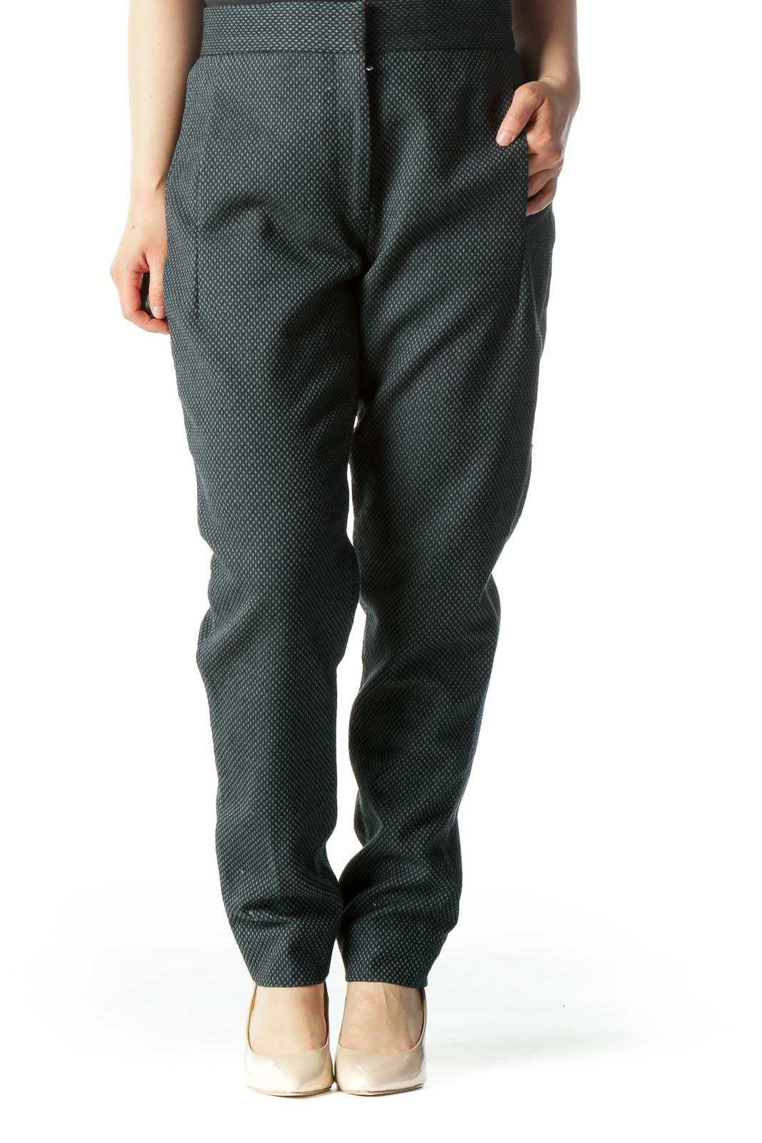 Green Textured Tile-Pattern Tapered Pant Front