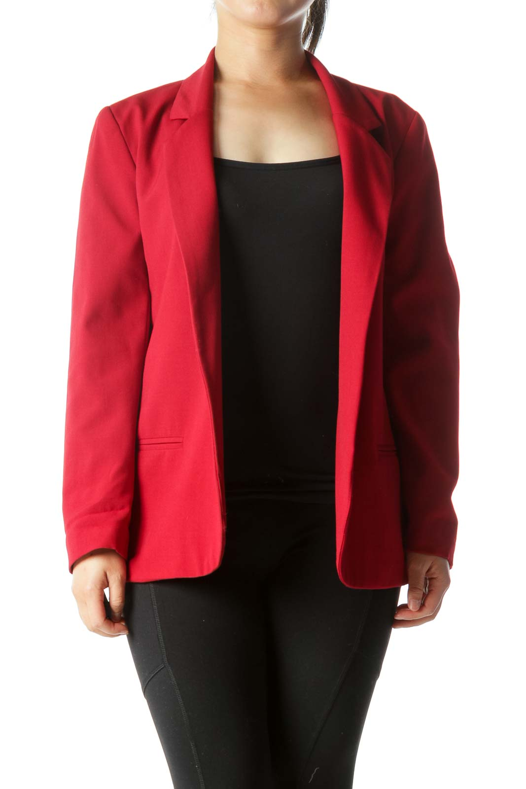 Red Collared Open Long-Sleeve Blazer Front