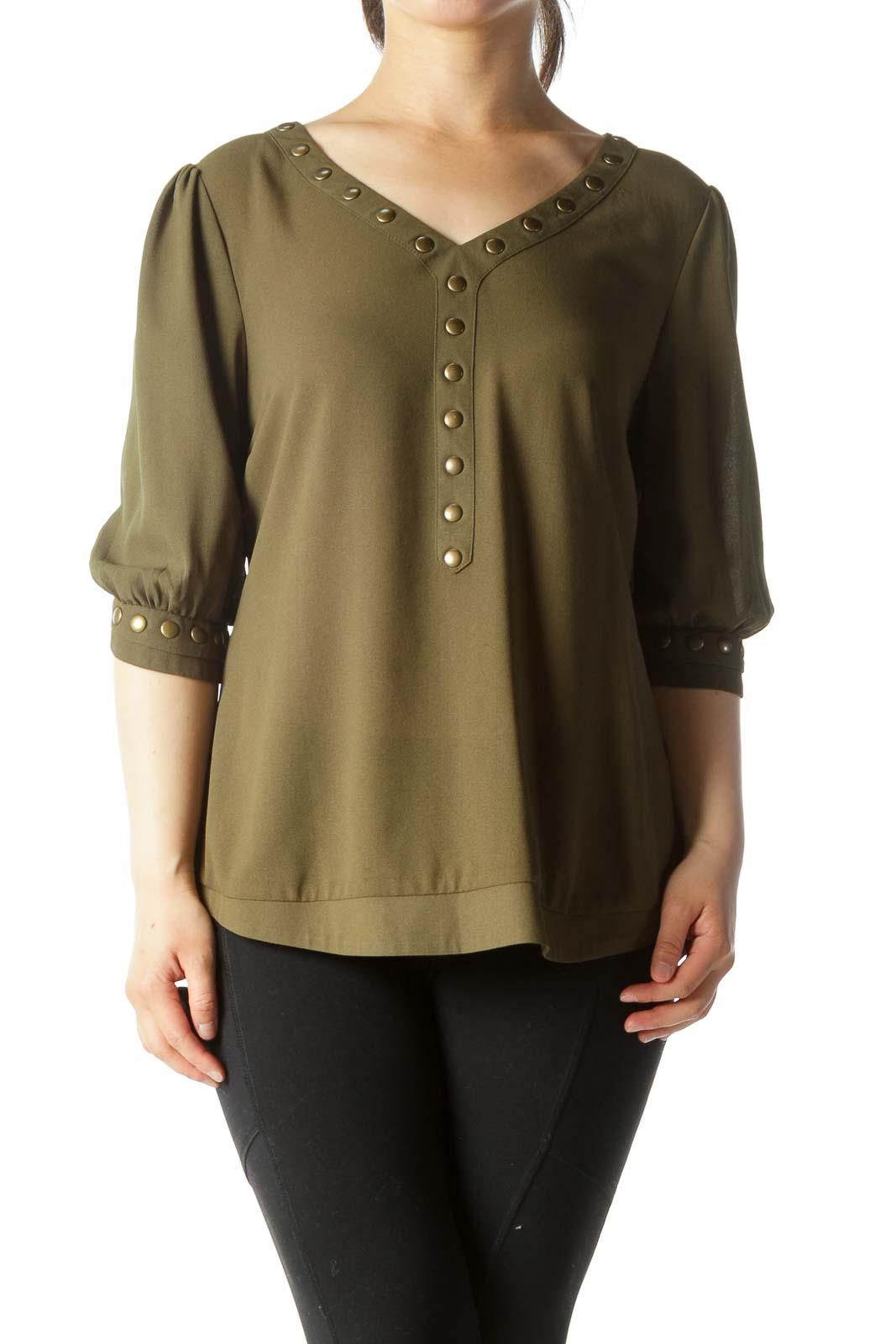 Olive Green V-Neck Studded 3/4-Sleeve Stretch Blouse Front
