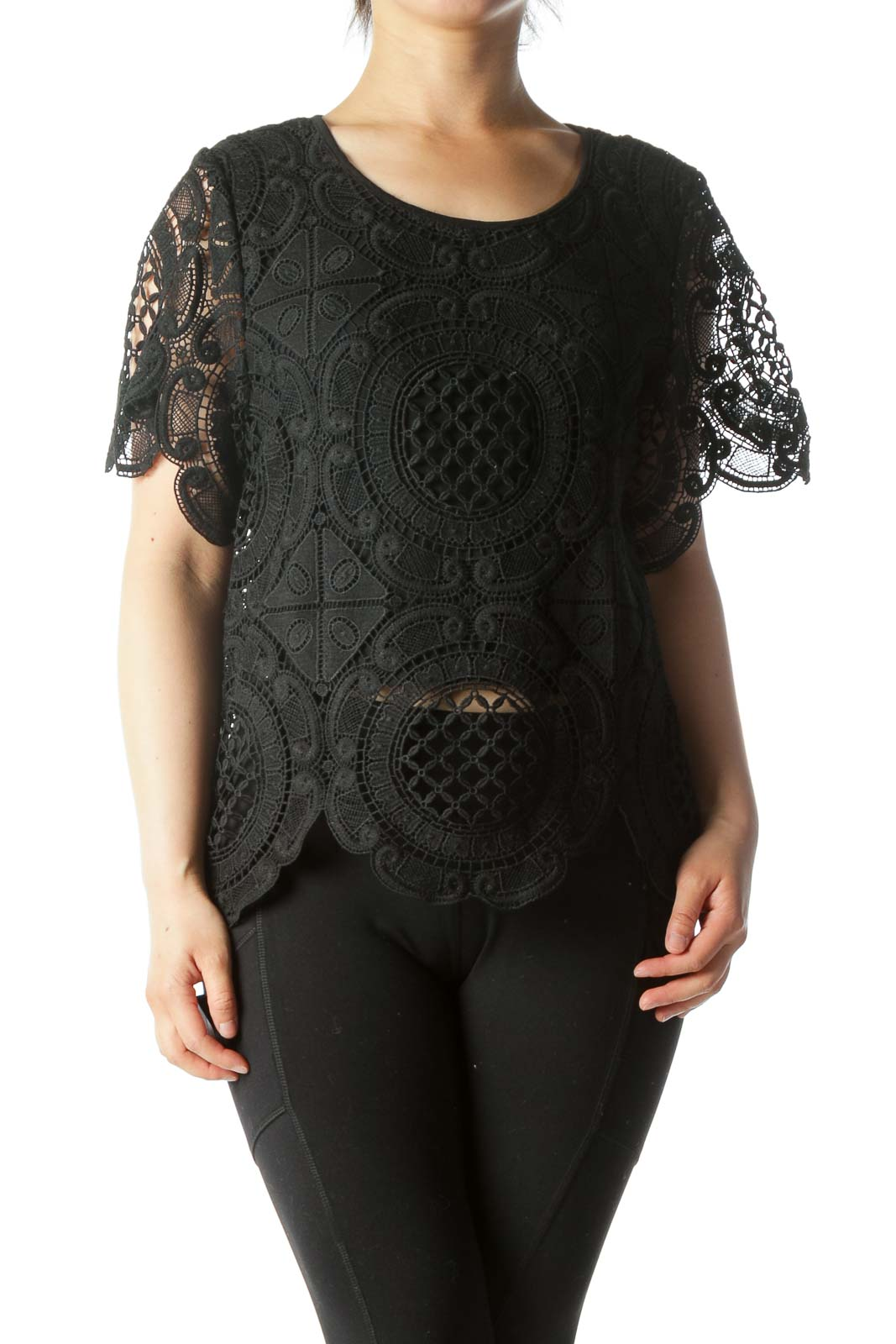 Black Knit Short-Sleeve See-Through Design Top Front
