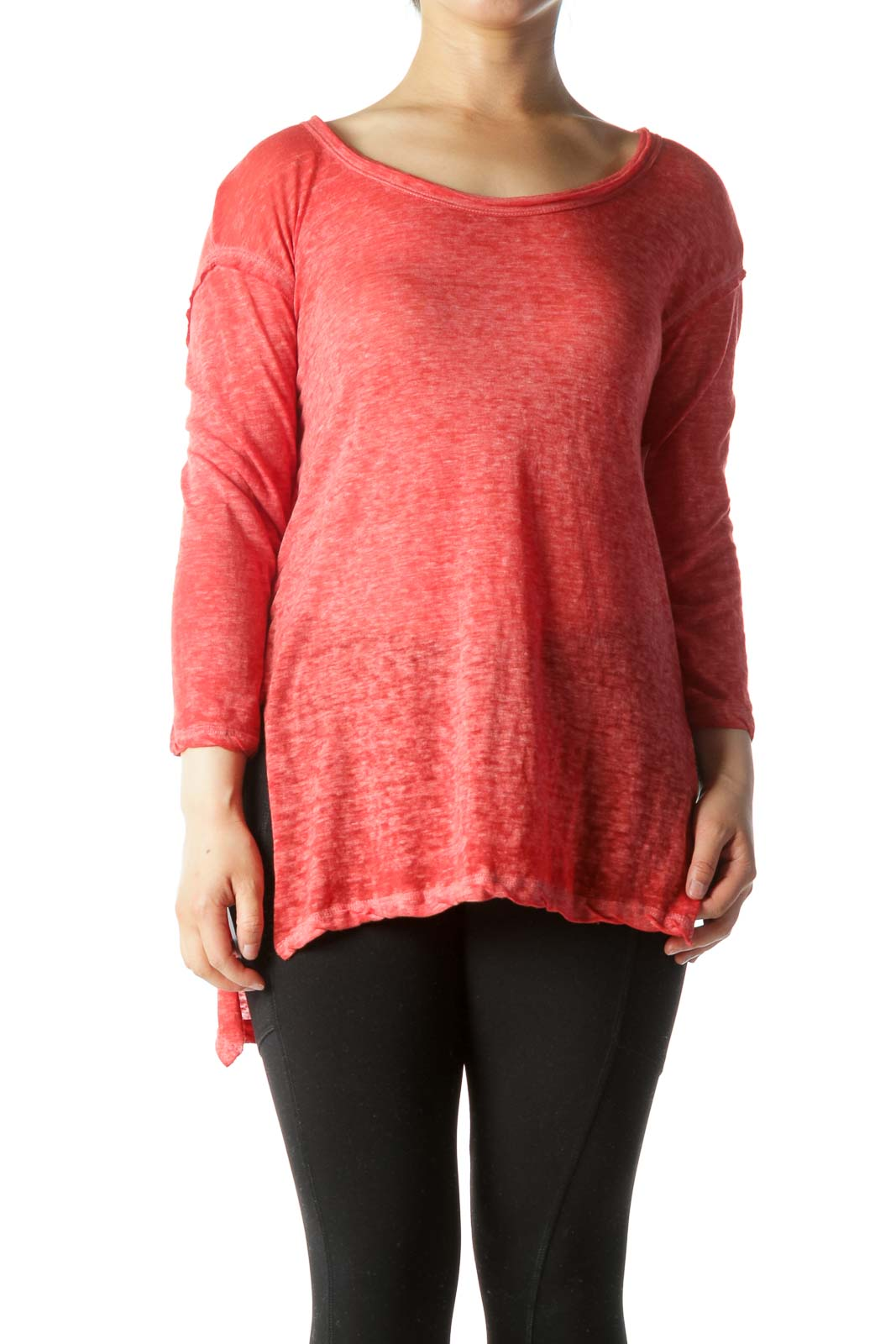 Red White Dyed Round Neck Light-Weight Long Sleeve Top Front