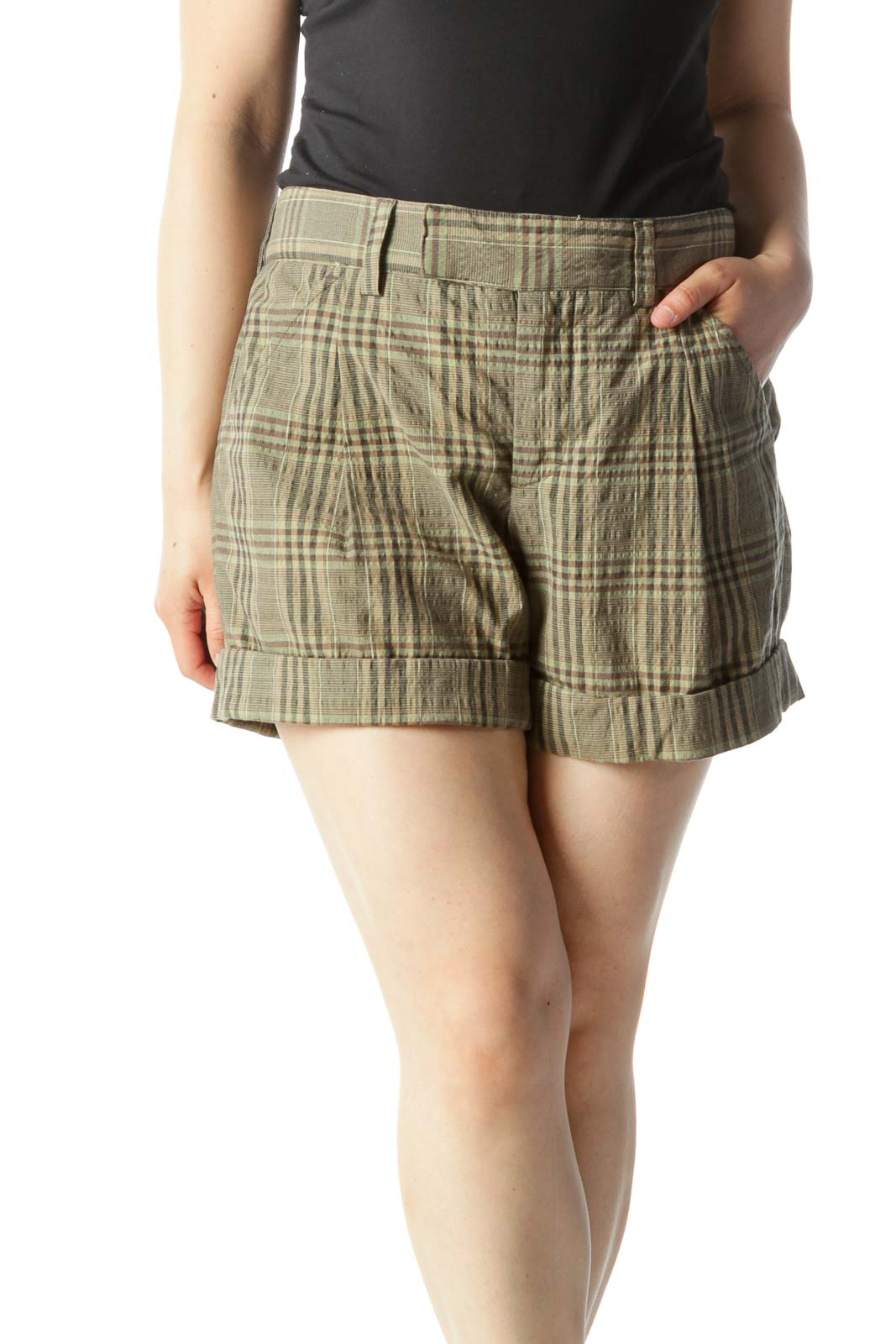 Green & Brown Plaid Mid-Rise Cuffed Shorts Front