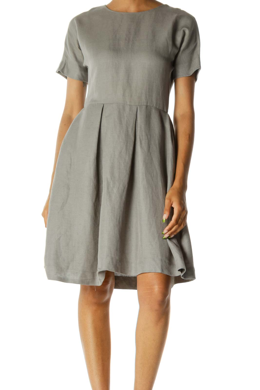 Gray Pleated Day Dress w/ Pockets Front