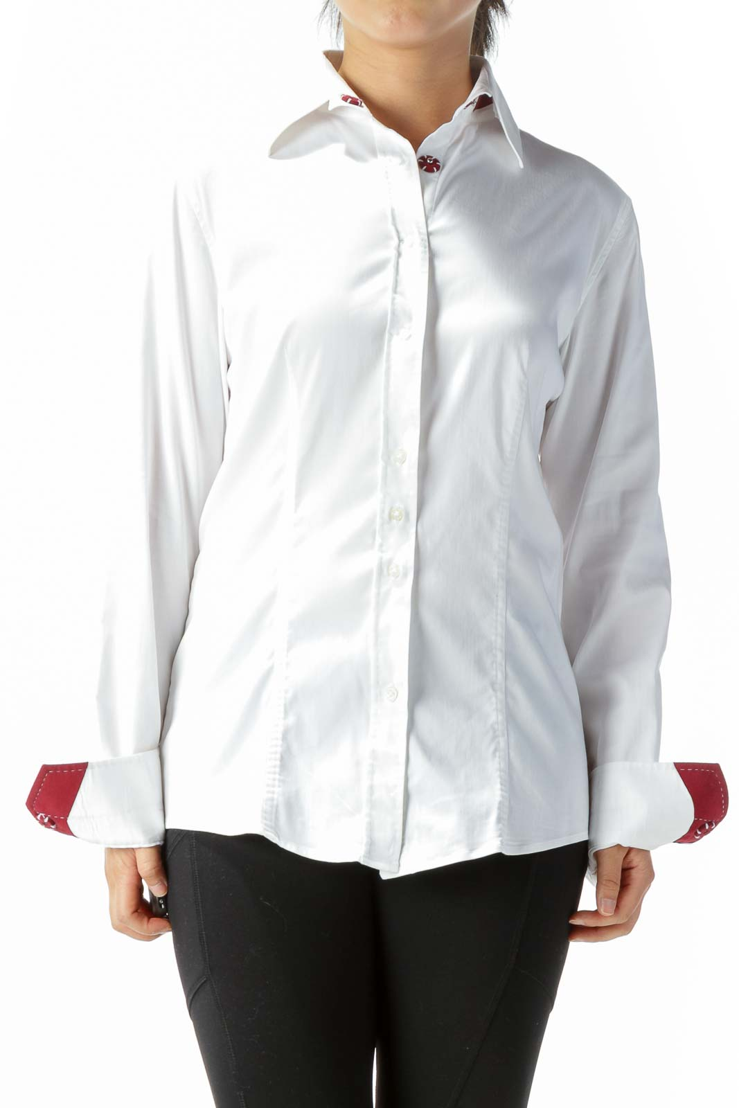 White Burgundy Red Accents Shirt Front