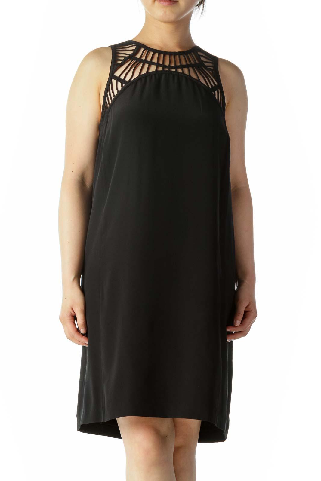 Black Knit Neckline Design Shift Day Dress Front
