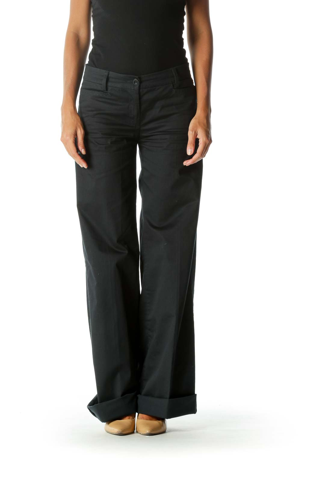 Black High Waisted Flared Pants  Front