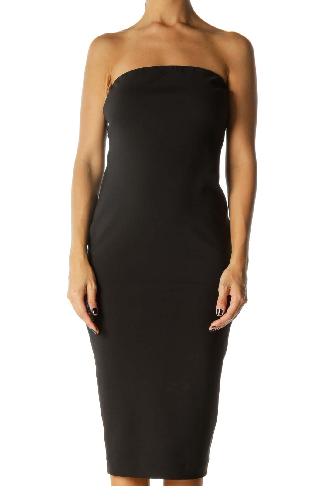 Black Strapless Bodycon Dress  Front