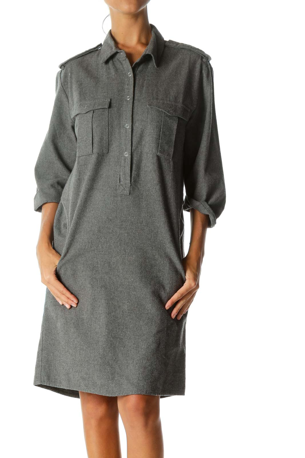 Grey Collared Pocketed Shirt Dress Front