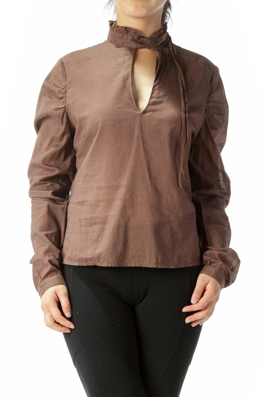 Brown Open Back Blouse  Front